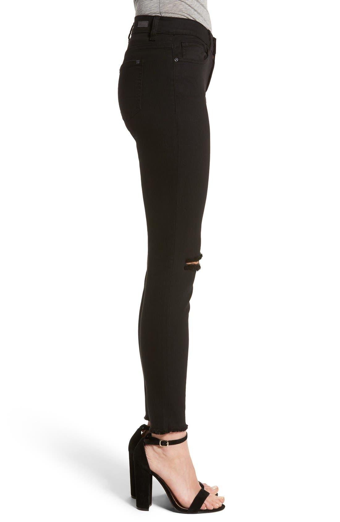 Alternate Image 3  - SP Black Slit Knee Skinny Jeans