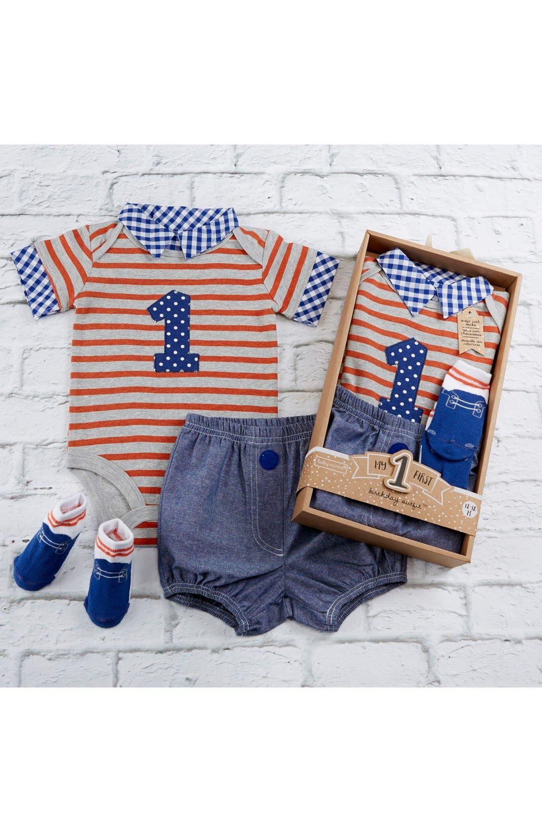 Alternate Image 4  - Baby Aspen My First Birthday Bodysuit, Shorts & Socks Set (Baby Boys)