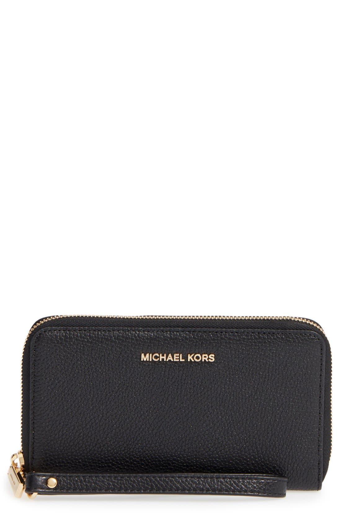 Alternate Image 1 Selected - MICHAEL Michael Kors Mercer Large Leather Tech Wristlet