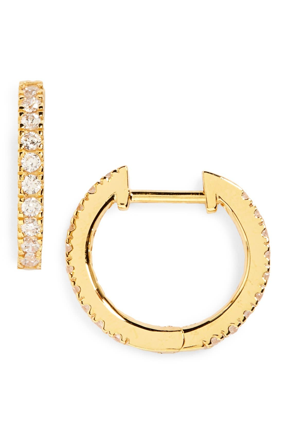 Small Hoop Earrings,                         Main,                         color, Clear- Gold