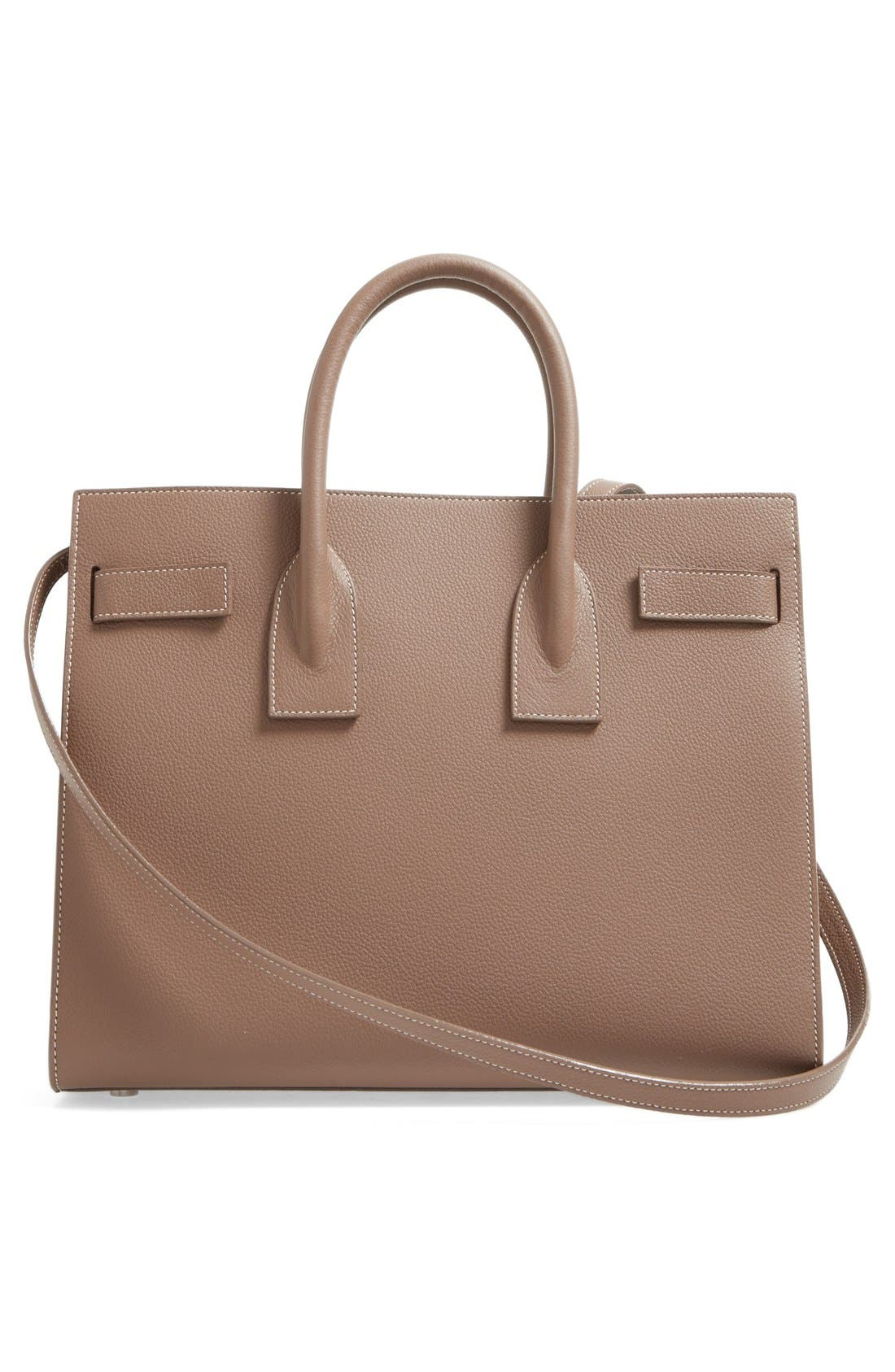 Small Sac de Jour Calfskin Leather Tote,                             Alternate thumbnail 3, color,                             Taupe/White