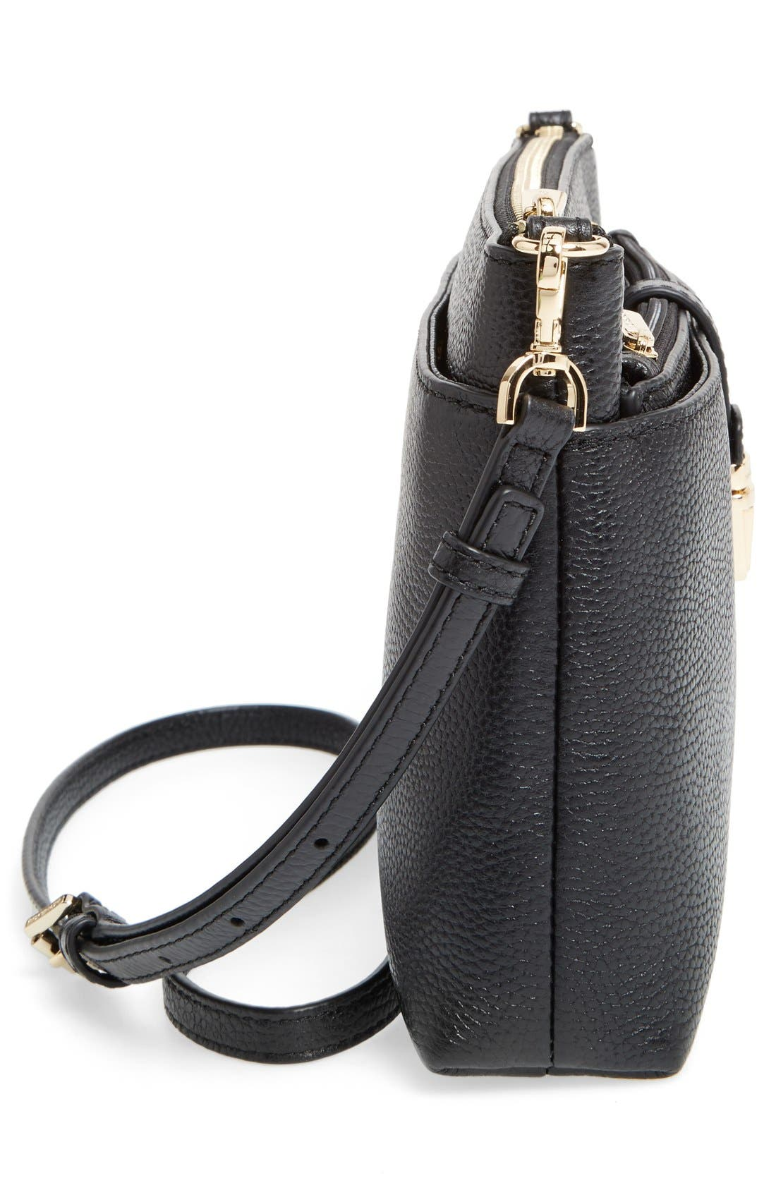 Large Mercer Leather Crossbody Bag,                             Alternate thumbnail 5, color,                             Black/ Gold