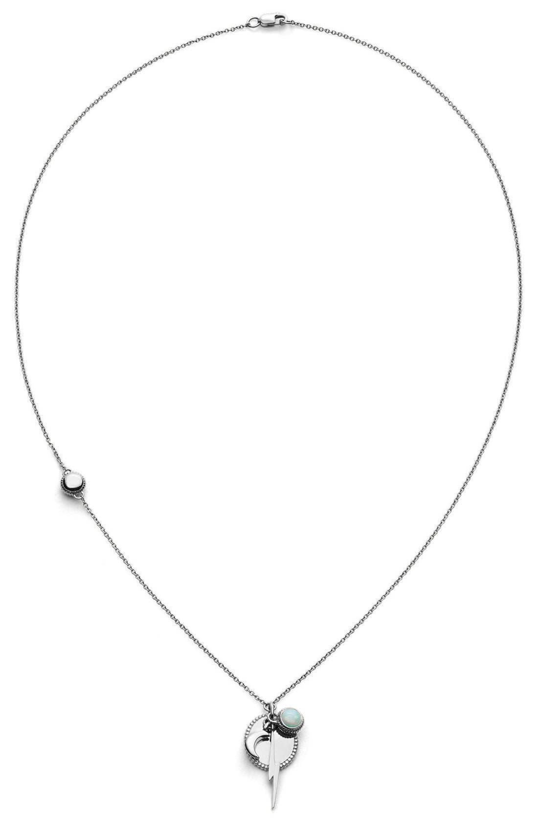 Bolt Cluster Pendant Necklace,                             Alternate thumbnail 2, color,                             Sterling Silver