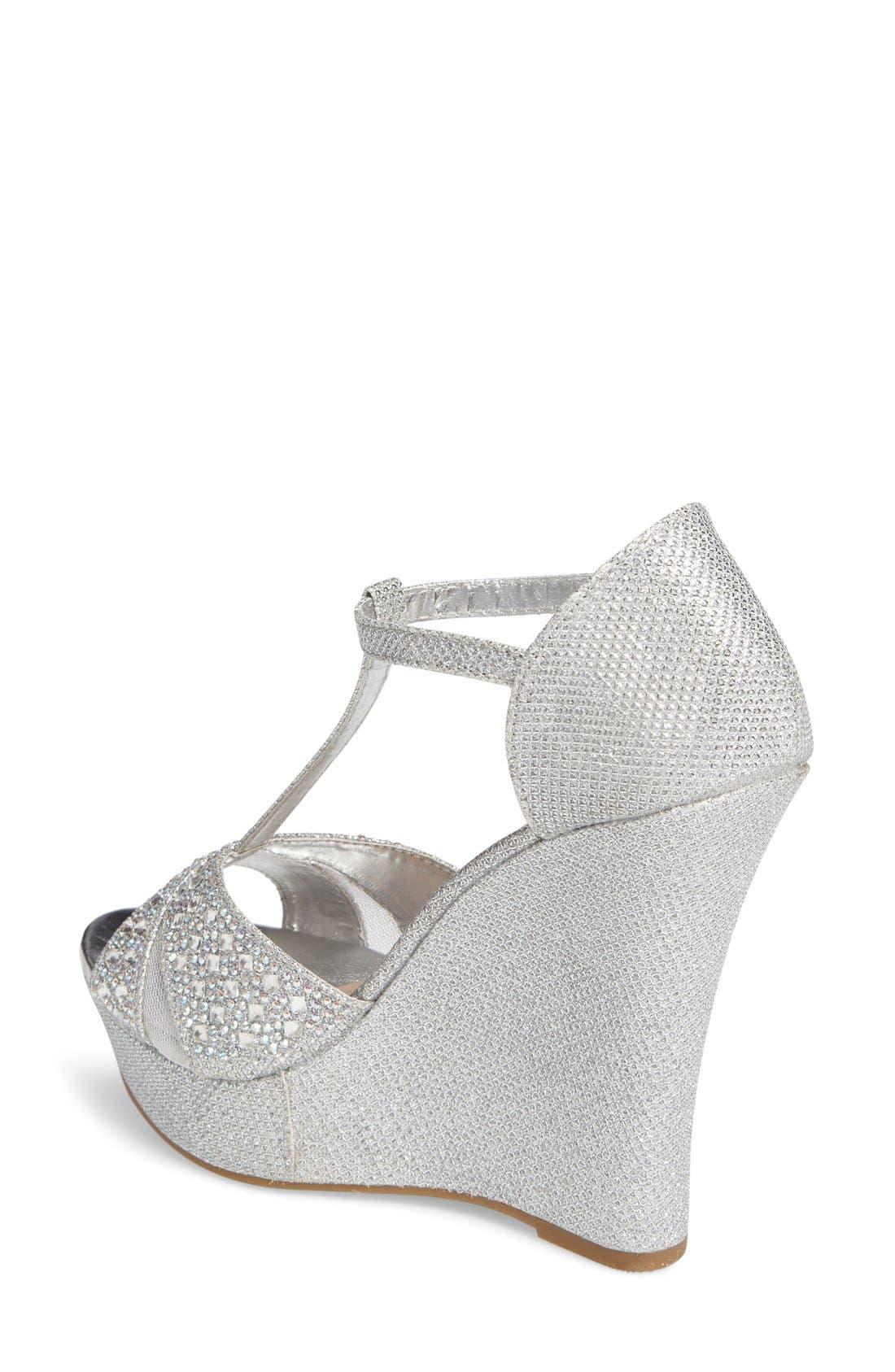 Alternate Image 2  - Lauren Lorraine Ness Crystal Embellished Wedge Sandal (Women)