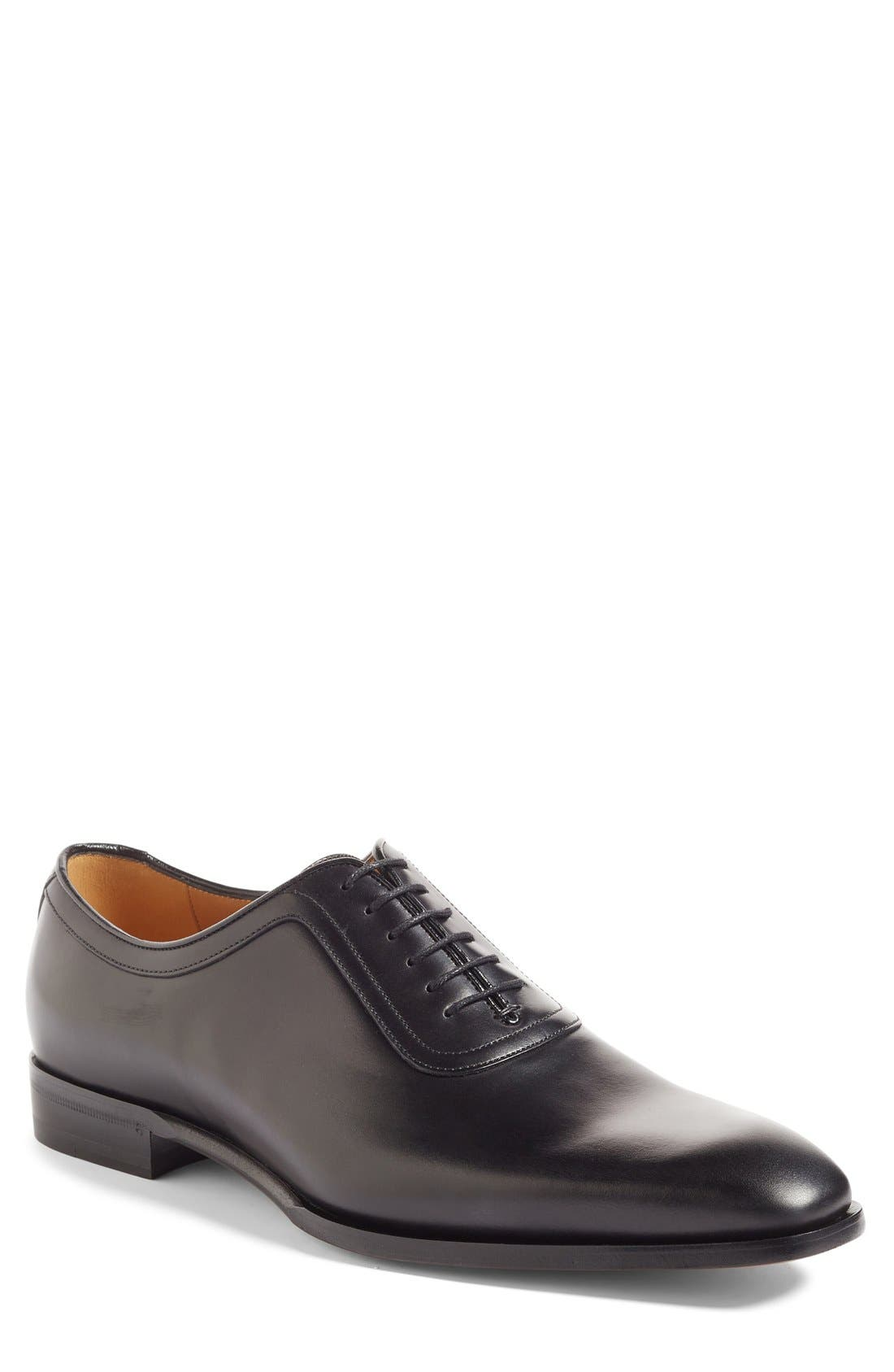 Broadwick Plain Toe Oxford,                             Main thumbnail 1, color,                             Nero Leather