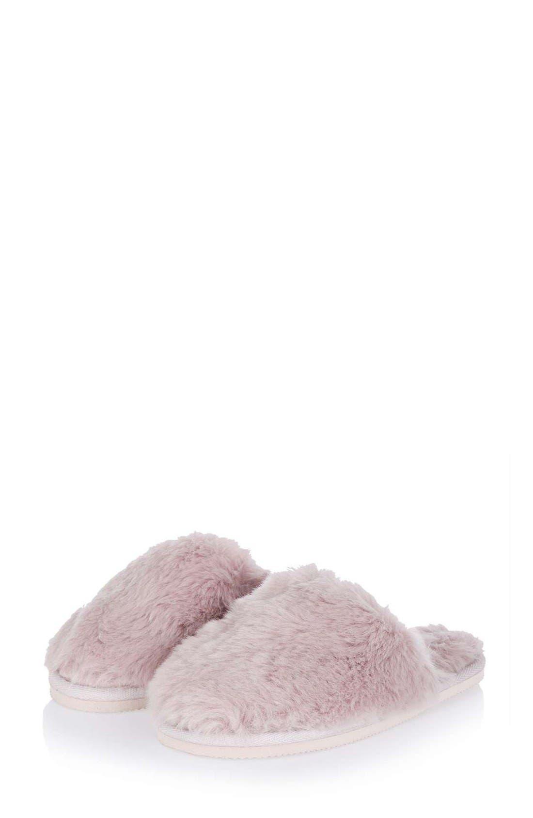 Alternate Image 1 Selected - Topshop Furry Mule Slippers (Women)