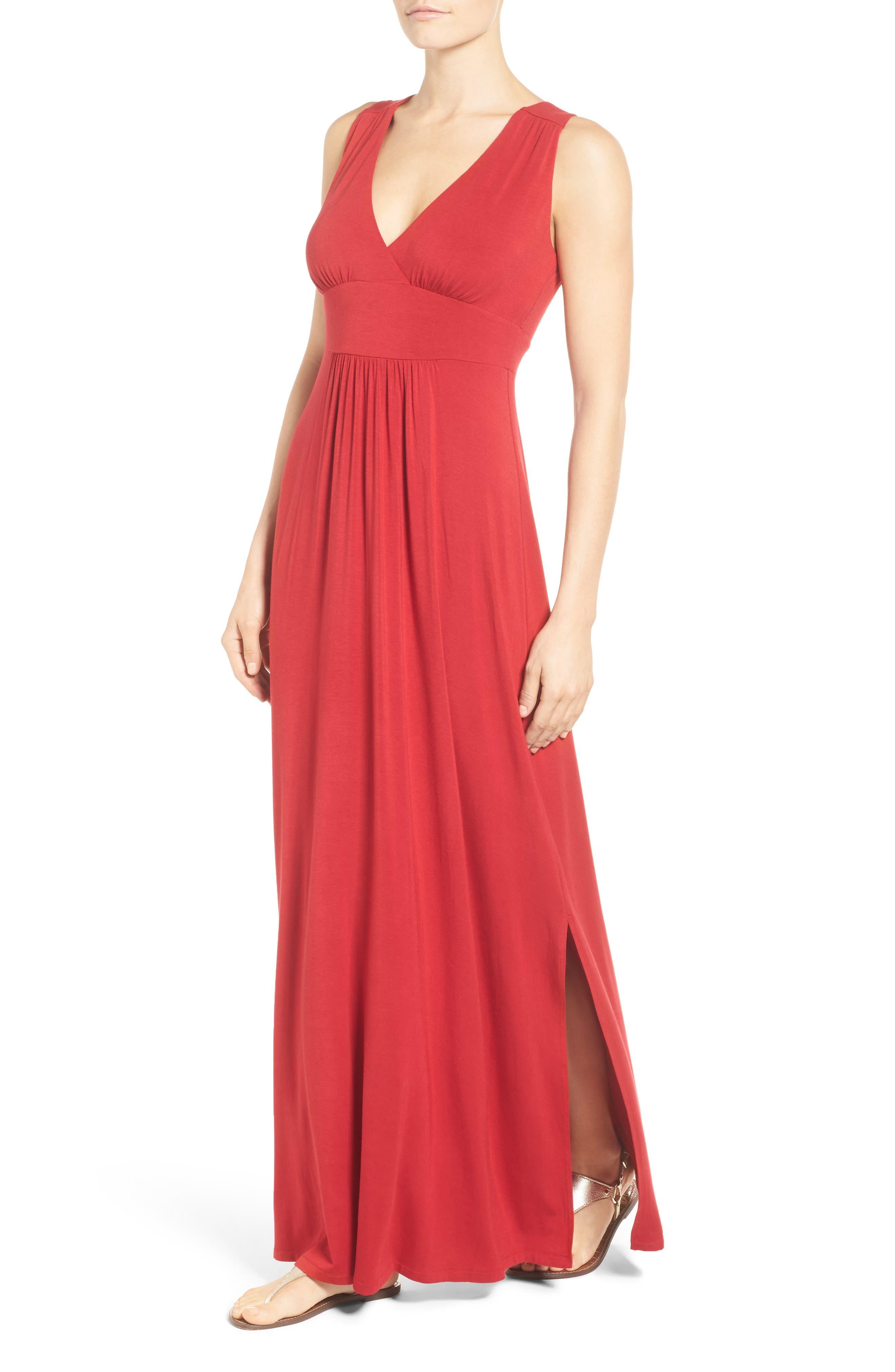 Knit Maxi Dress,                             Alternate thumbnail 4, color,                             Red Chili