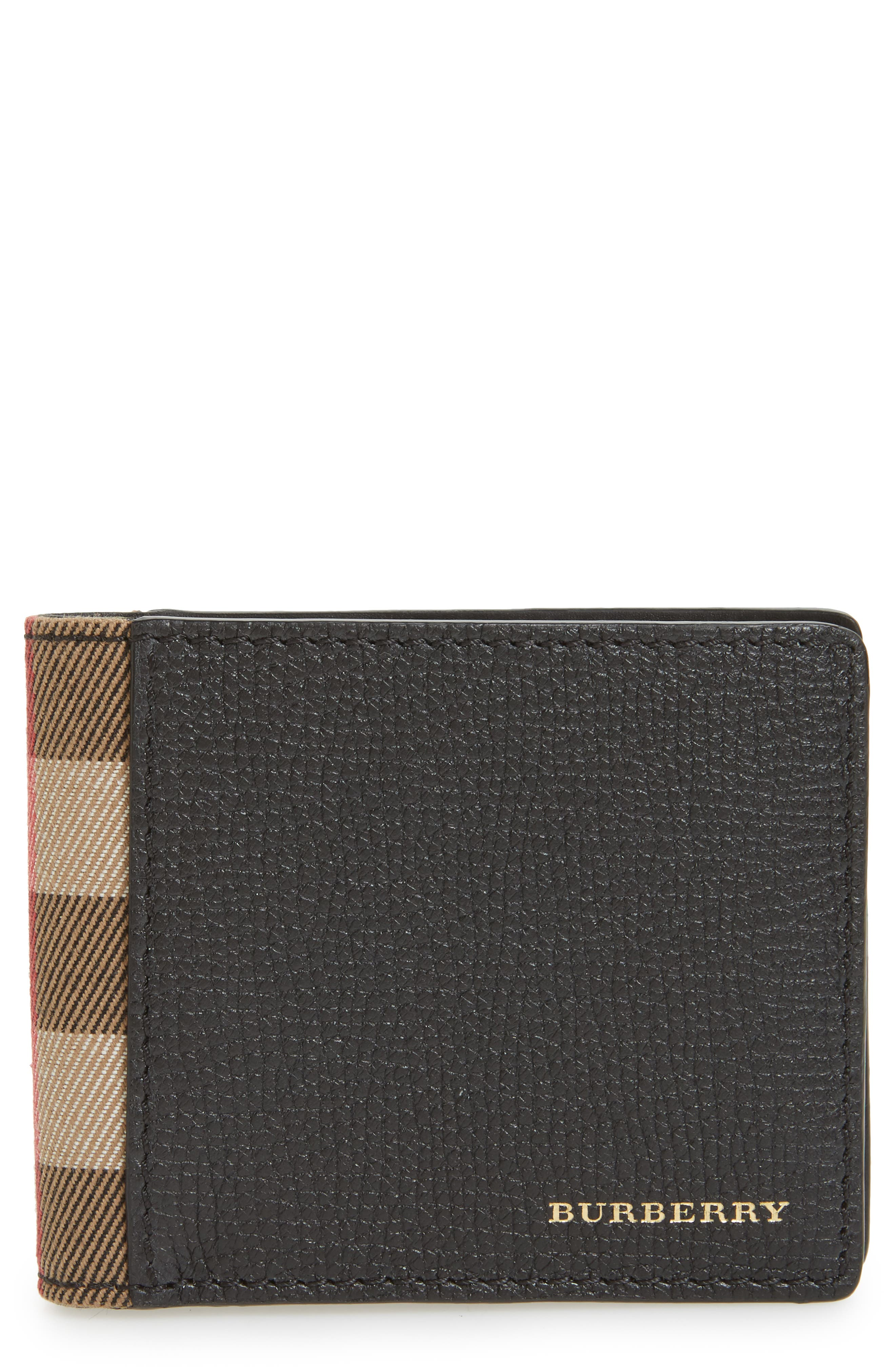 Check Leather Wallet,                         Main,                         color, Black