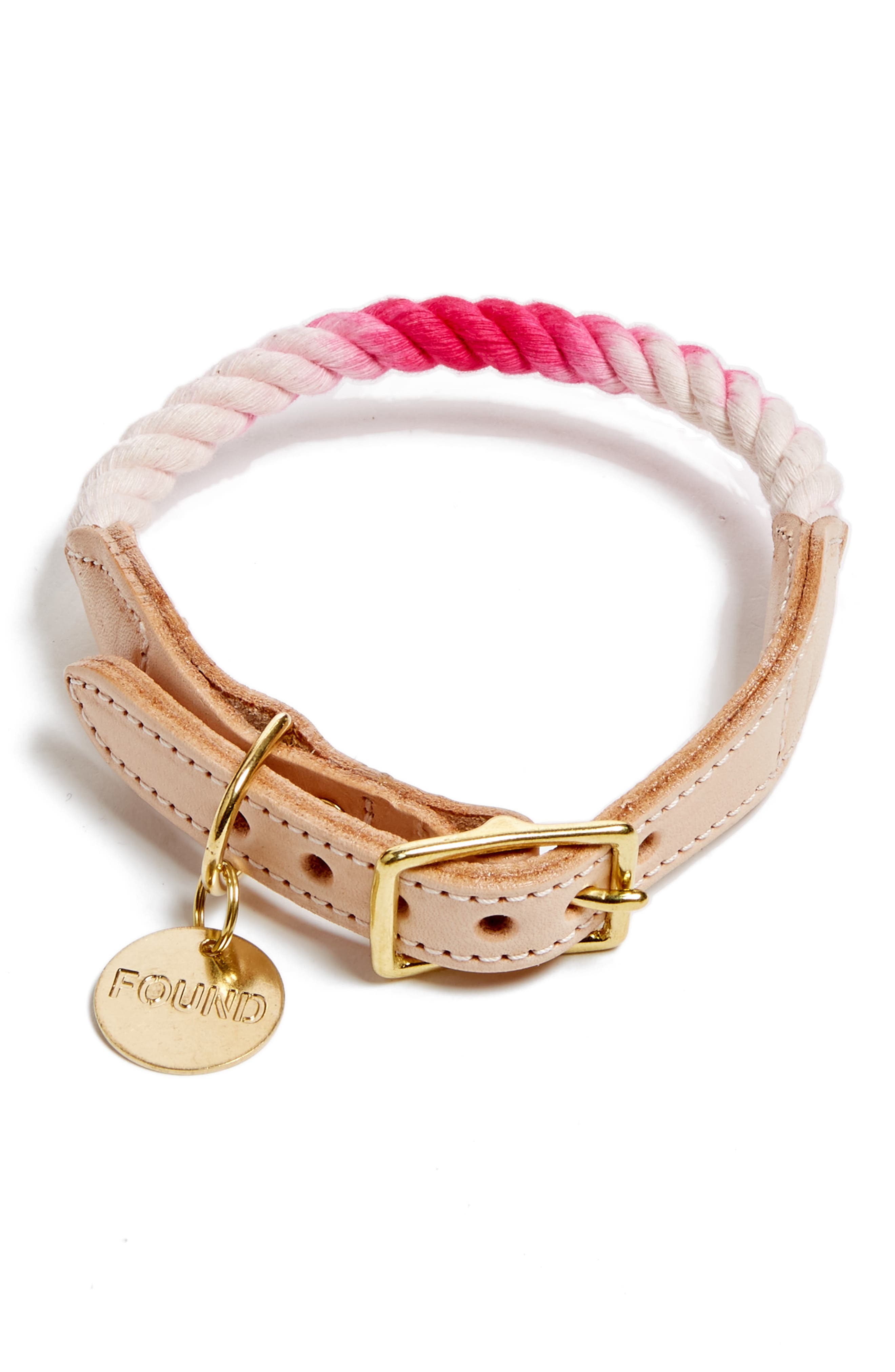 Rope & Leather Pet Collar,                         Main,                         color, Magenta Ombre