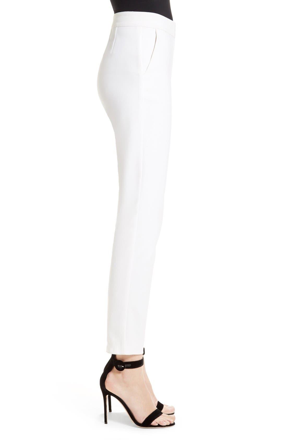 Emma Stretch Micro Ottoman Crop Pants,                             Alternate thumbnail 4, color,                             Bianco