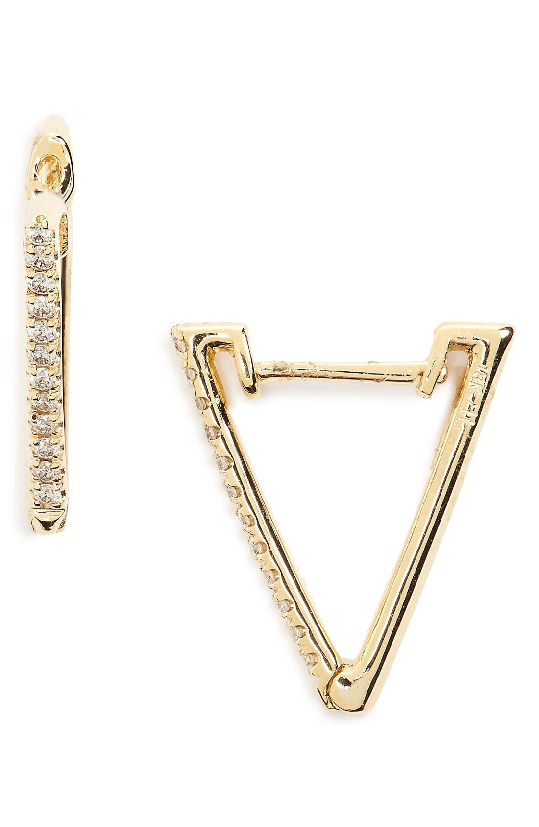 BONY LEVY Diamond Triangle Hoop Earrings