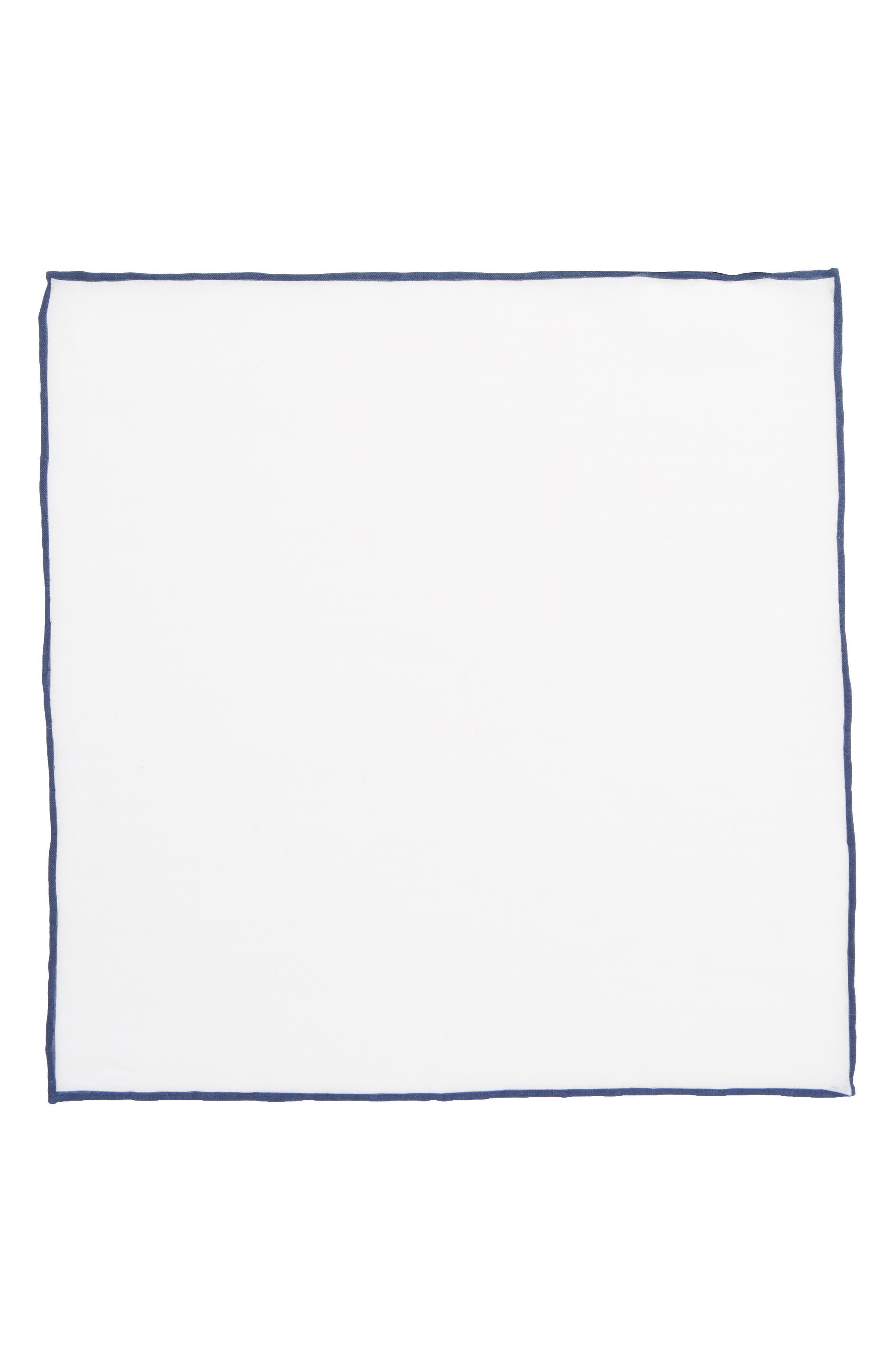 Solid Linen Pocket Square,                             Alternate thumbnail 2, color,                             Navy