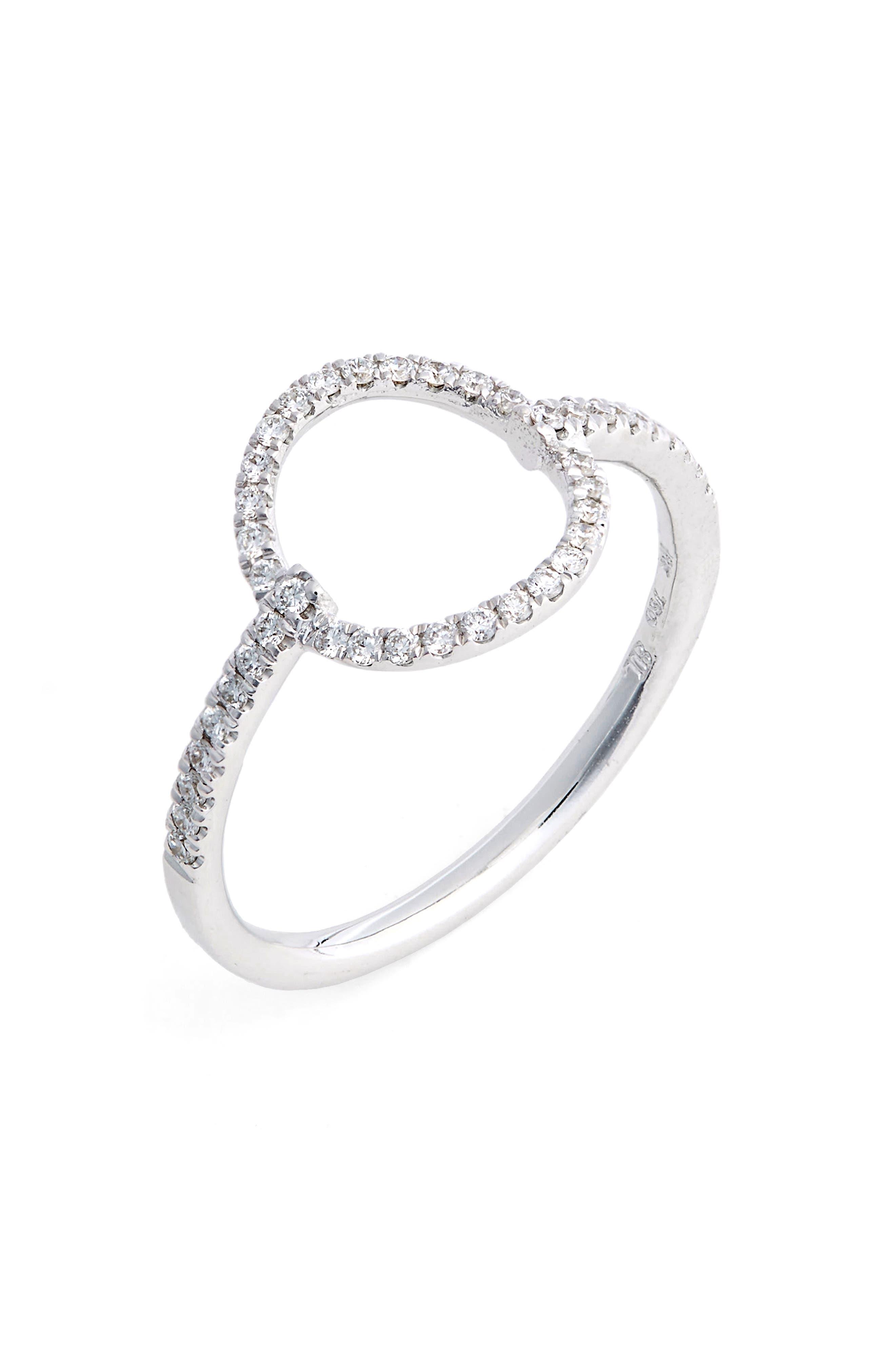 Open Circle Diamond Ring,                             Main thumbnail 1, color,                             White Gold