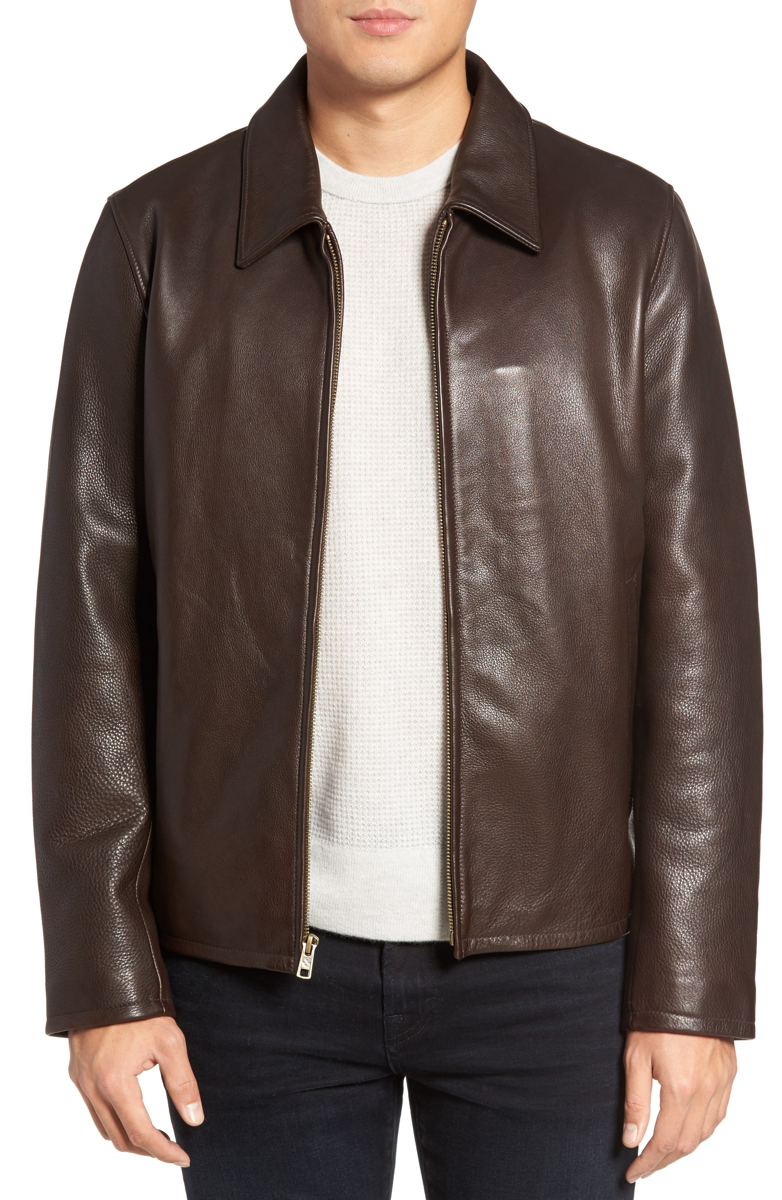 Alternate Image 1 Selected - Vince Camuto Leather Zip Front Jacket