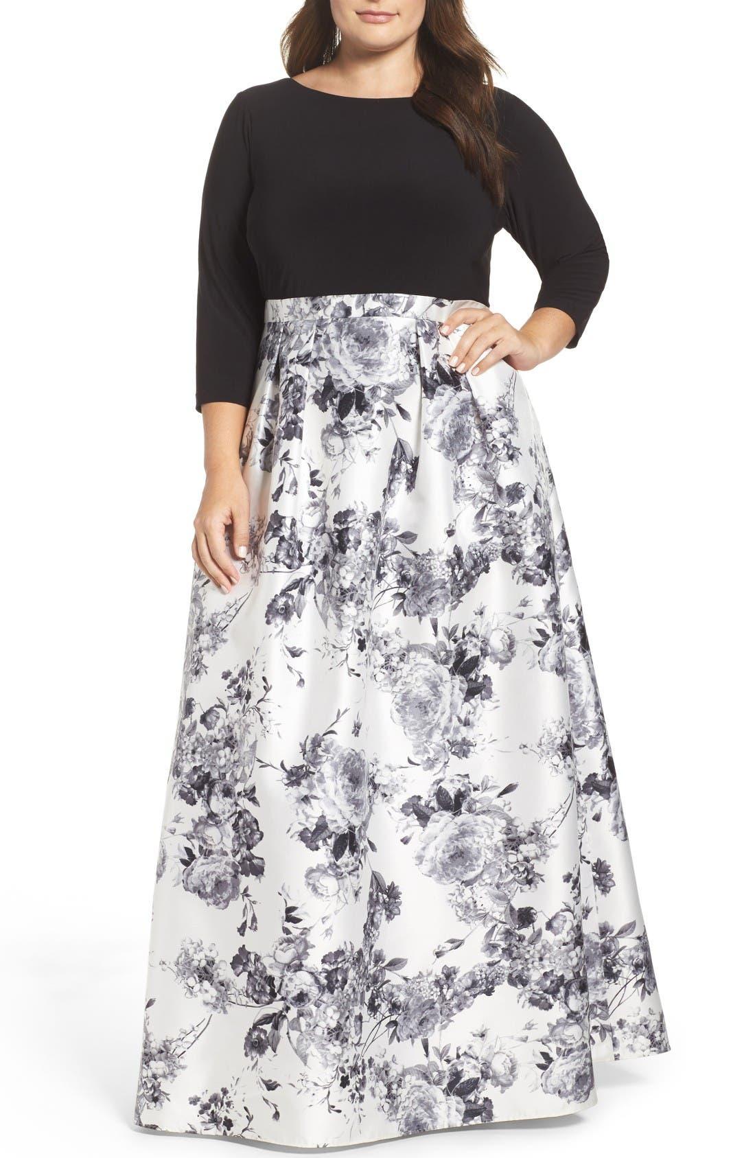 Adrianna Papell Jersey & Mikado Ballgown (Plus Size)