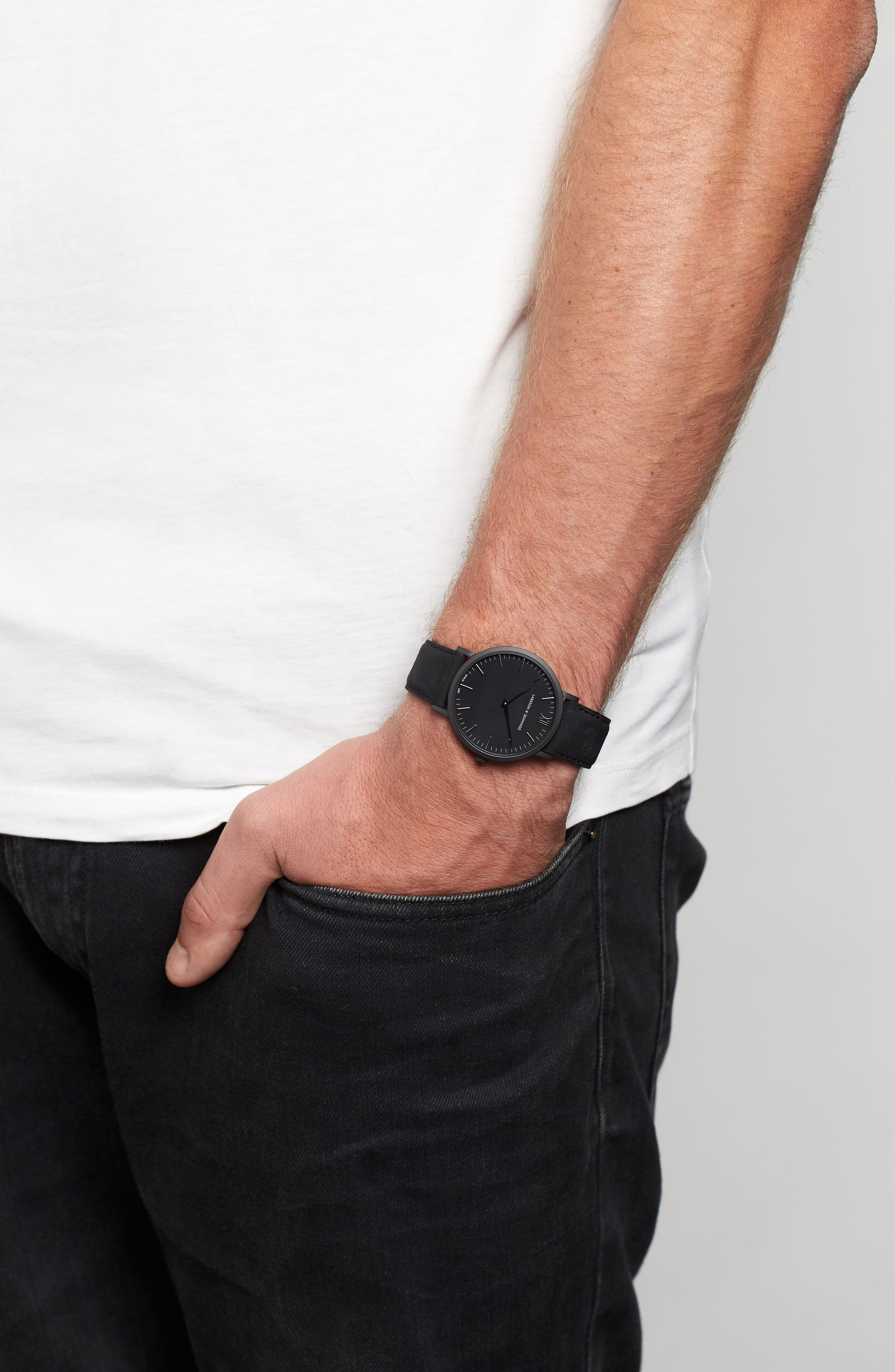 'Lugano' Leather Strap Watch, 40mm,                             Alternate thumbnail 6, color,                             Black
