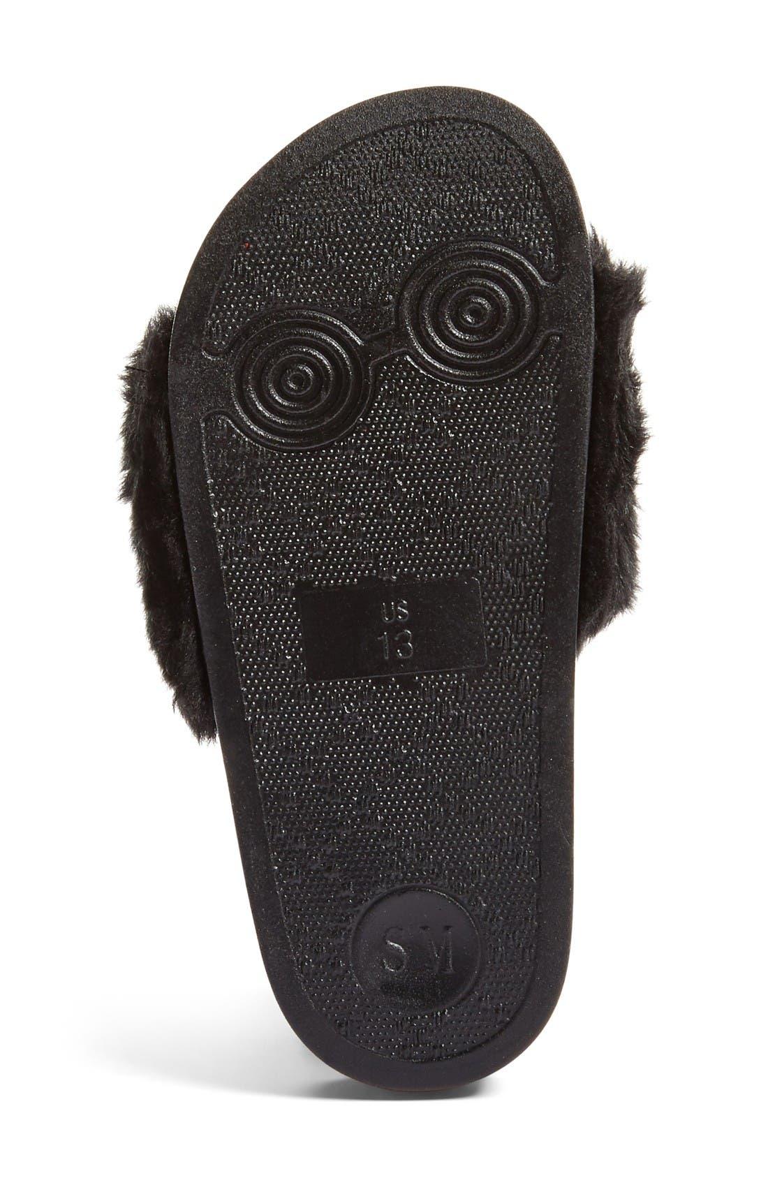 Softey Slide,                             Alternate thumbnail 4, color,                             Black Faux Fur