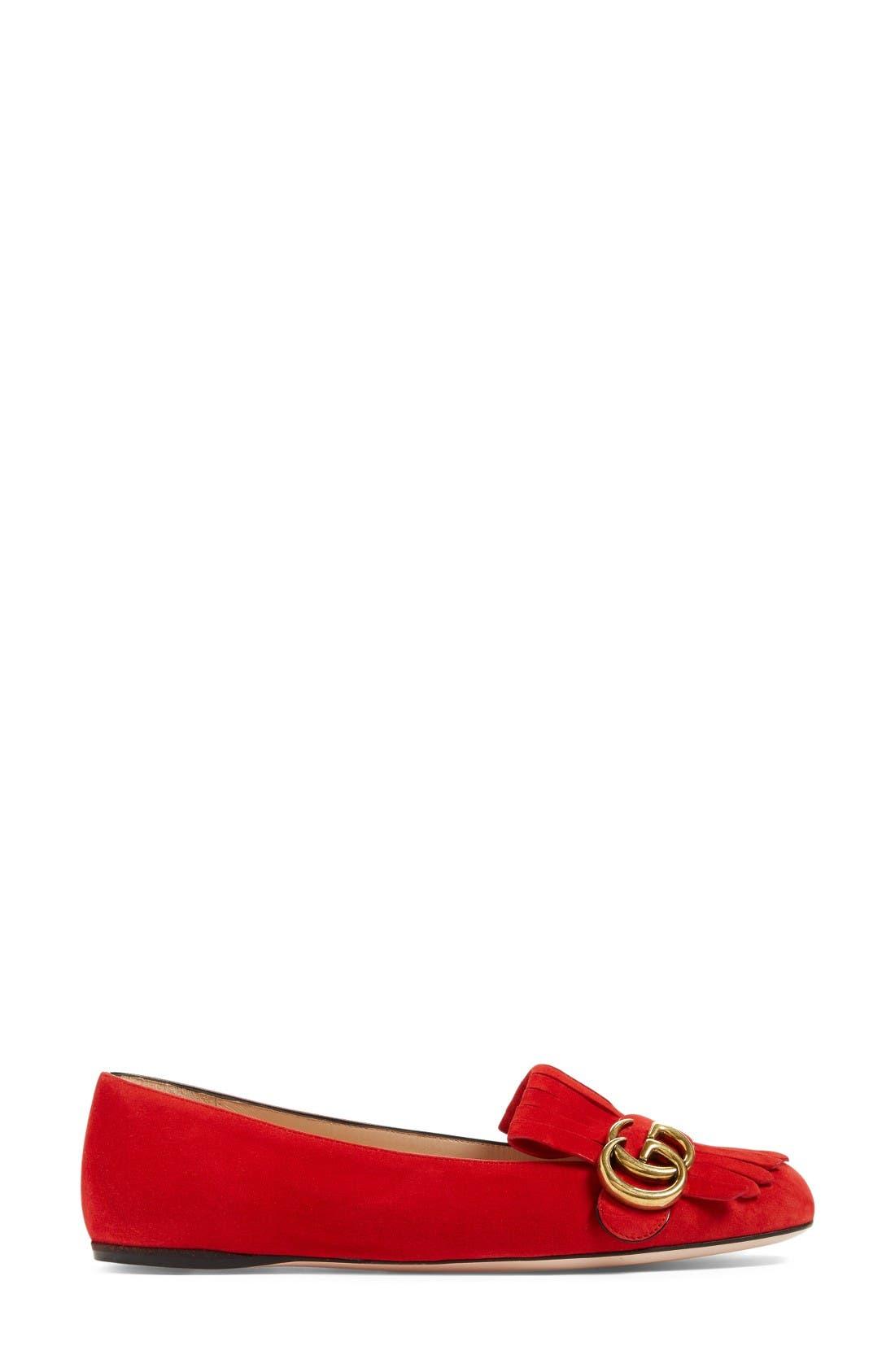 Alternate Image 4  - Gucci GG Marmont Fringe Flat (Women)
