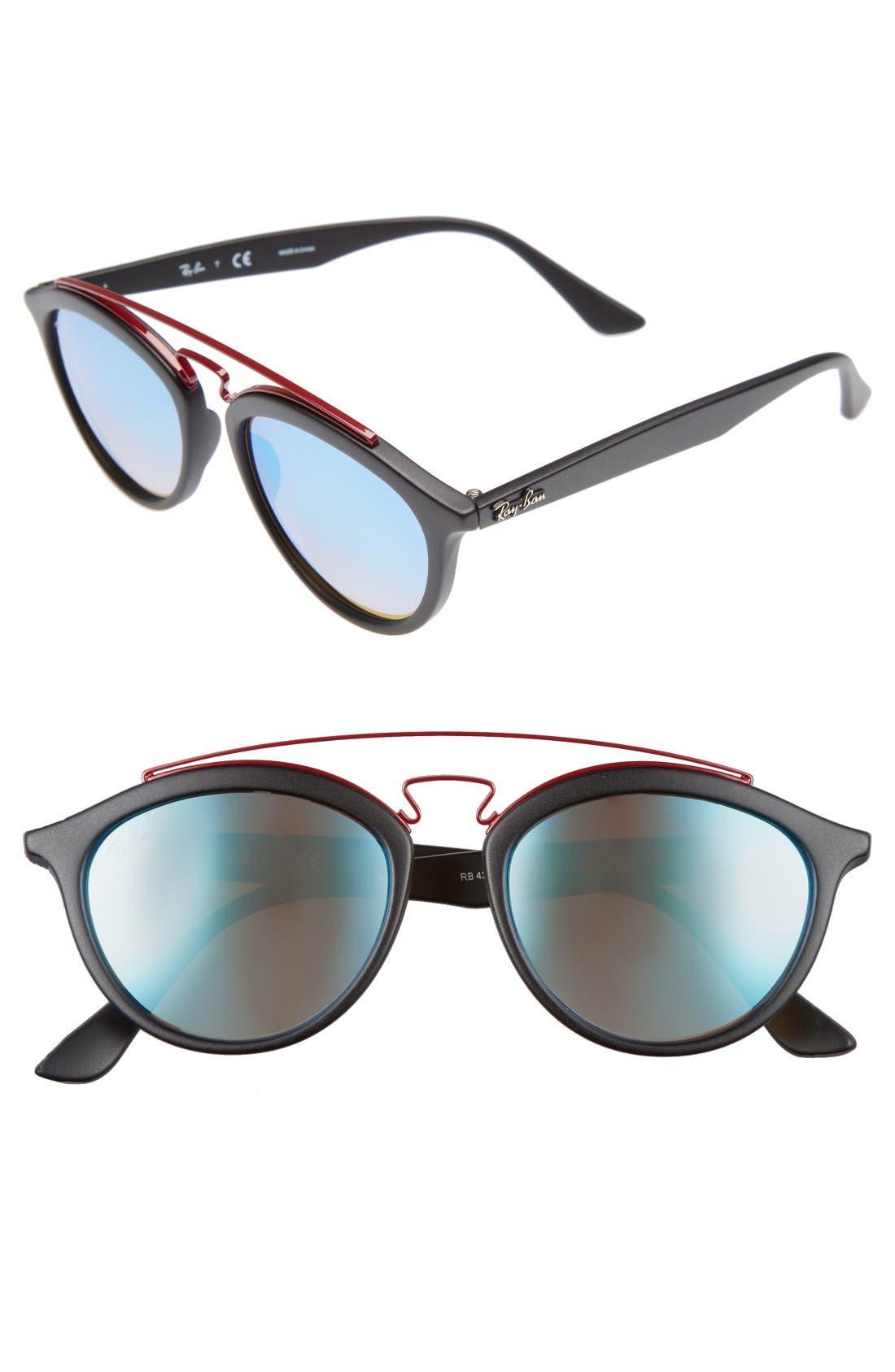 Icons 53mm Retro Sunglasses,                             Main thumbnail 1, color,                             Black/ Blue