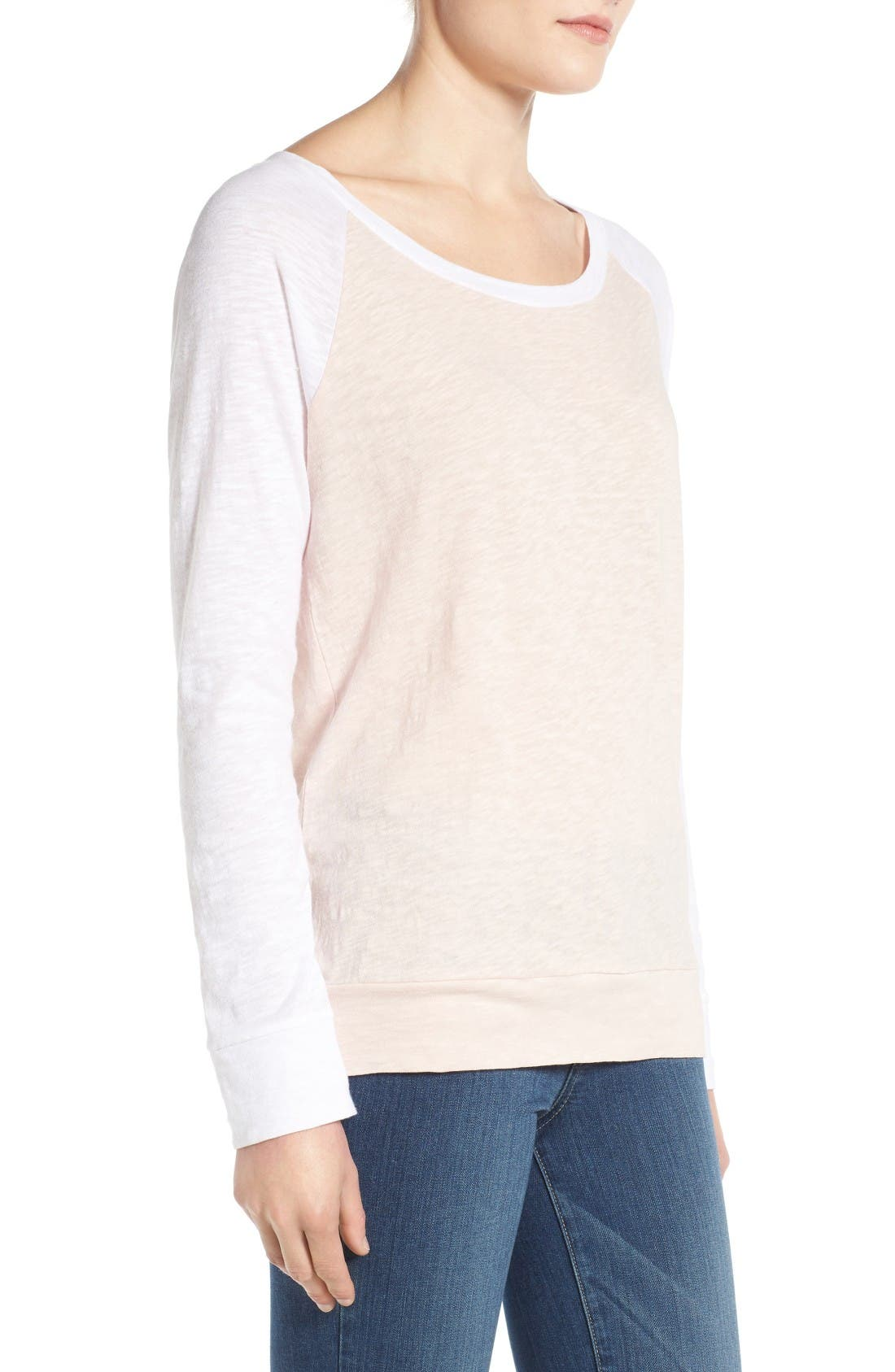 Lightweight Colorblock Cotton Tee,                             Alternate thumbnail 7, color,                             Pink Peach- White Colorblock