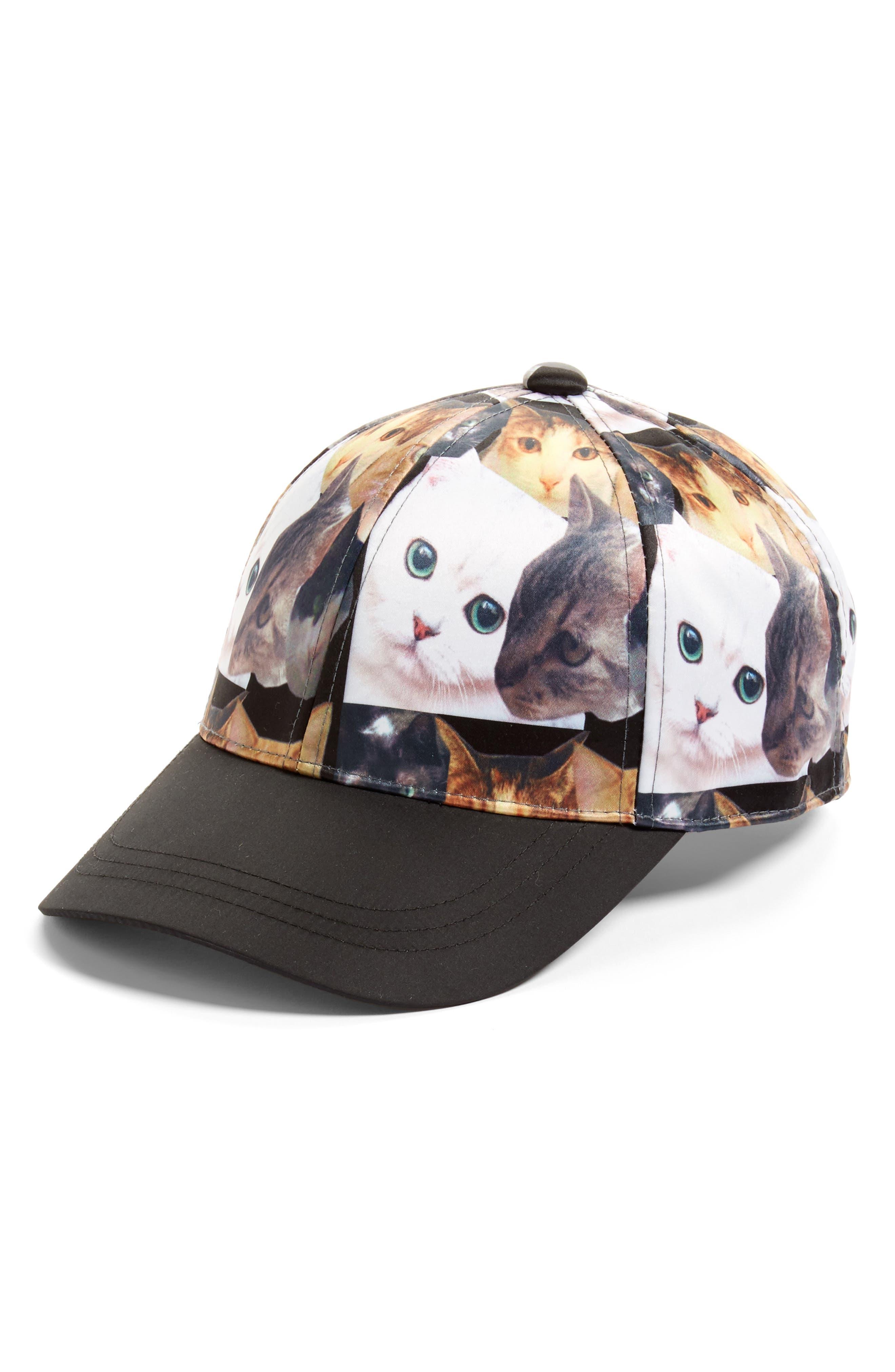 Cat Collage Baseball Cap,                         Main,                         color, Black