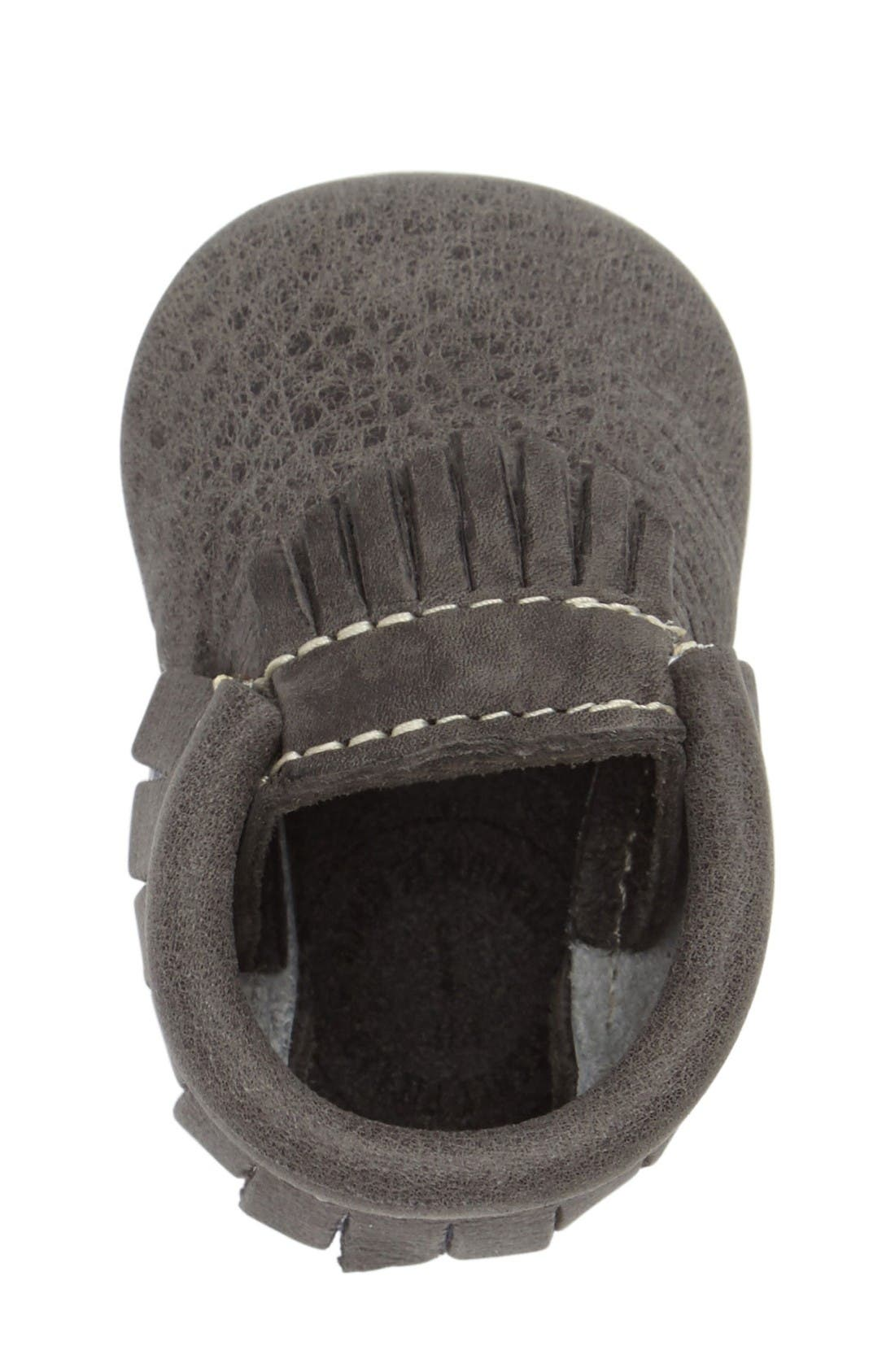 Leather Moccasin,                             Alternate thumbnail 3, color,                             Dark Grey Leather
