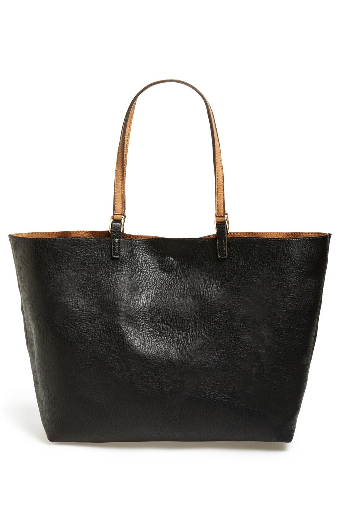 Reversible Faux Leather Tote,                             Alternate thumbnail 3, color,                             Tan/ Black