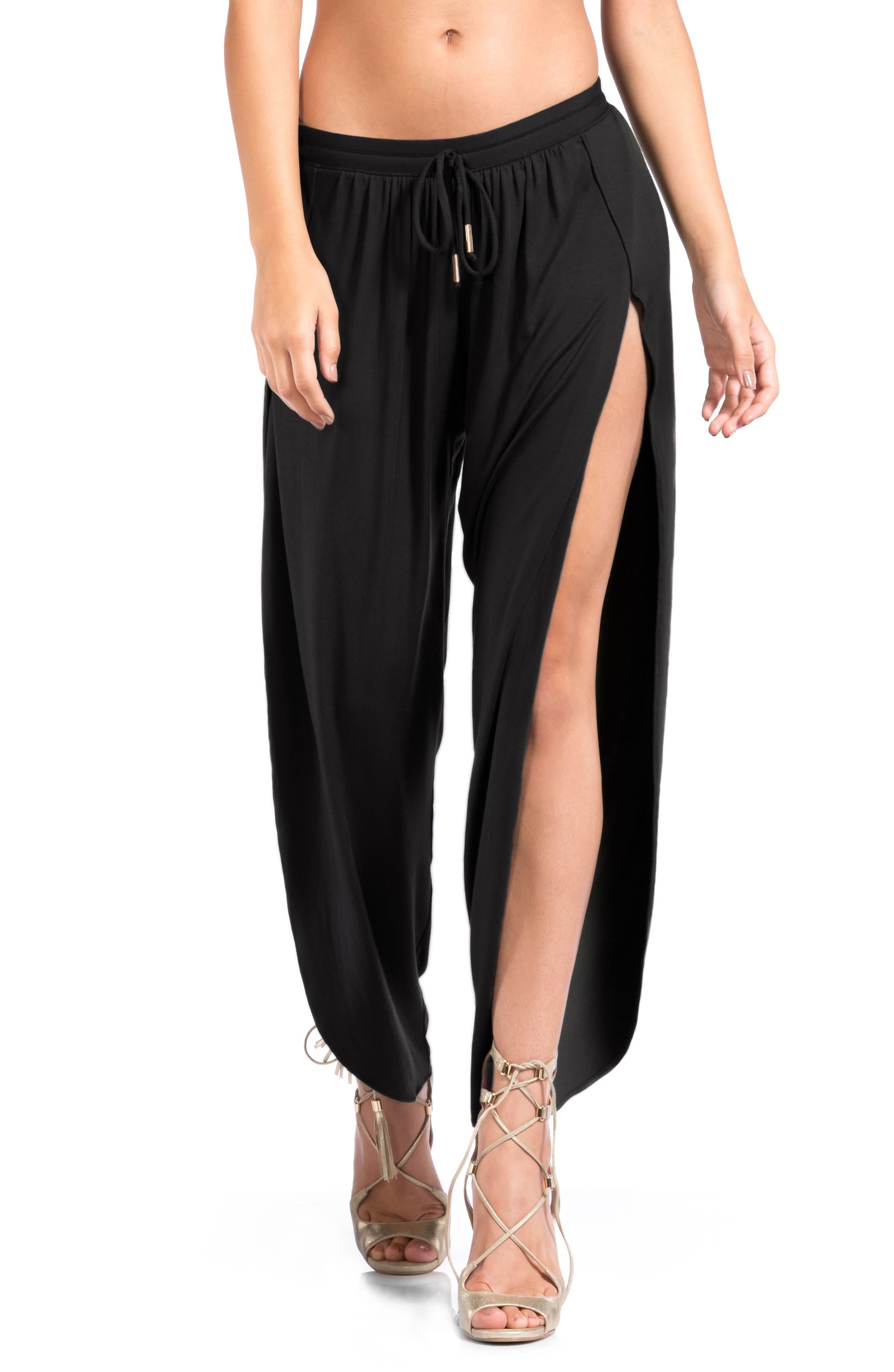 Francesca Wide Leg Cover-Up Pants in Black