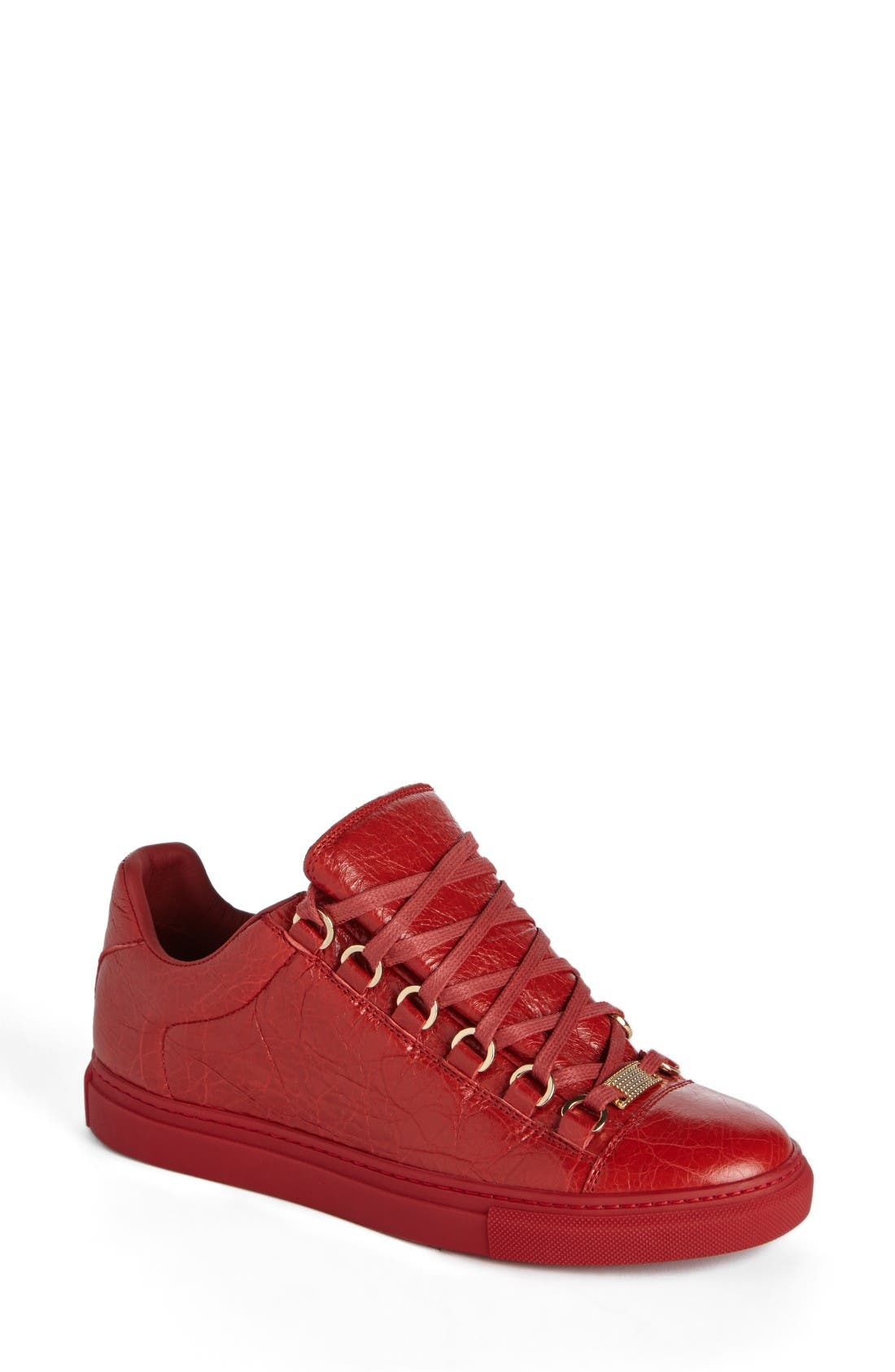 Low Top Sneaker,                             Main thumbnail 1, color,                             Red Leather