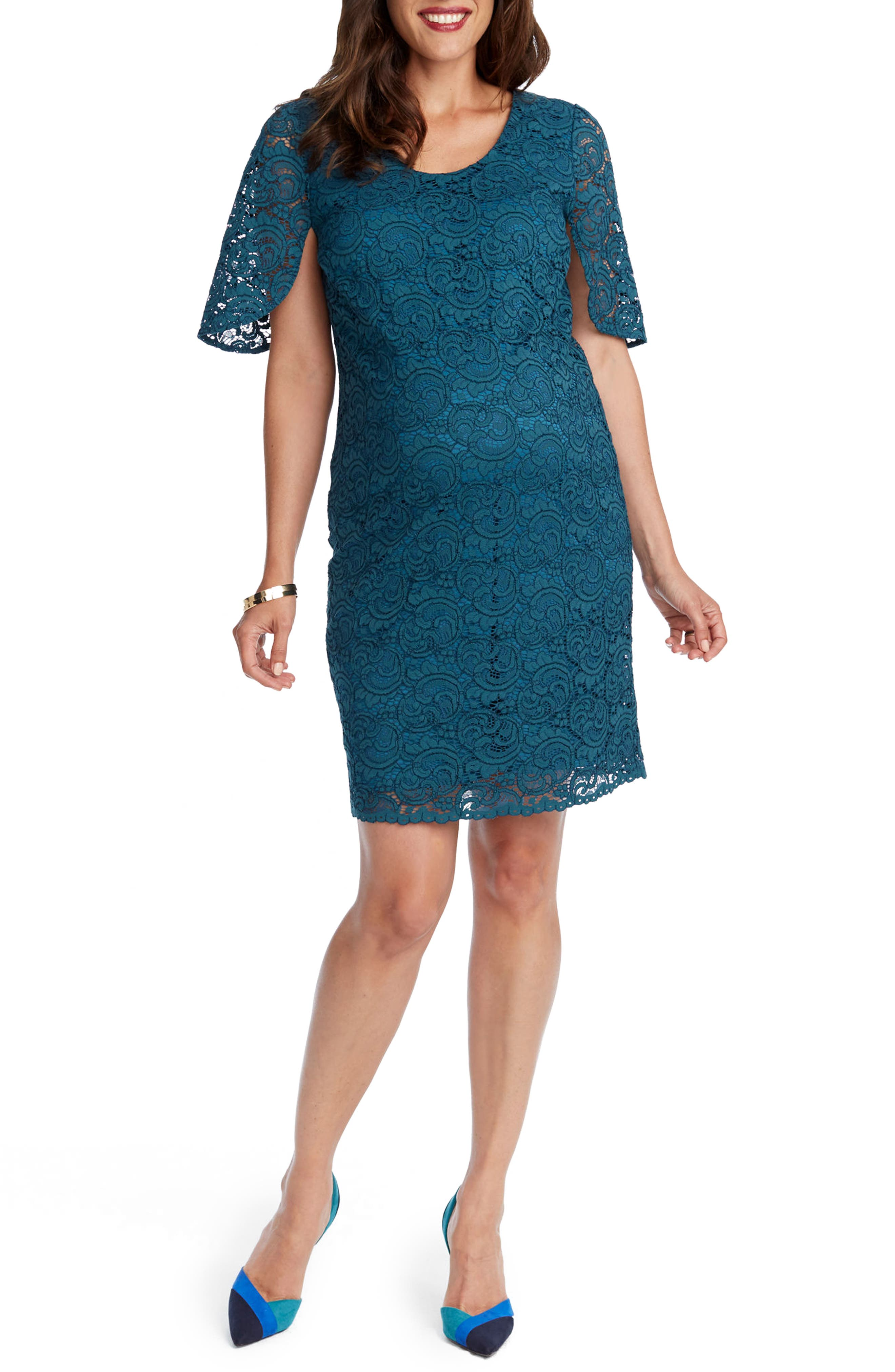 Lainey Lace Maternity Sheath Dress,                         Main,                         color, Emerald