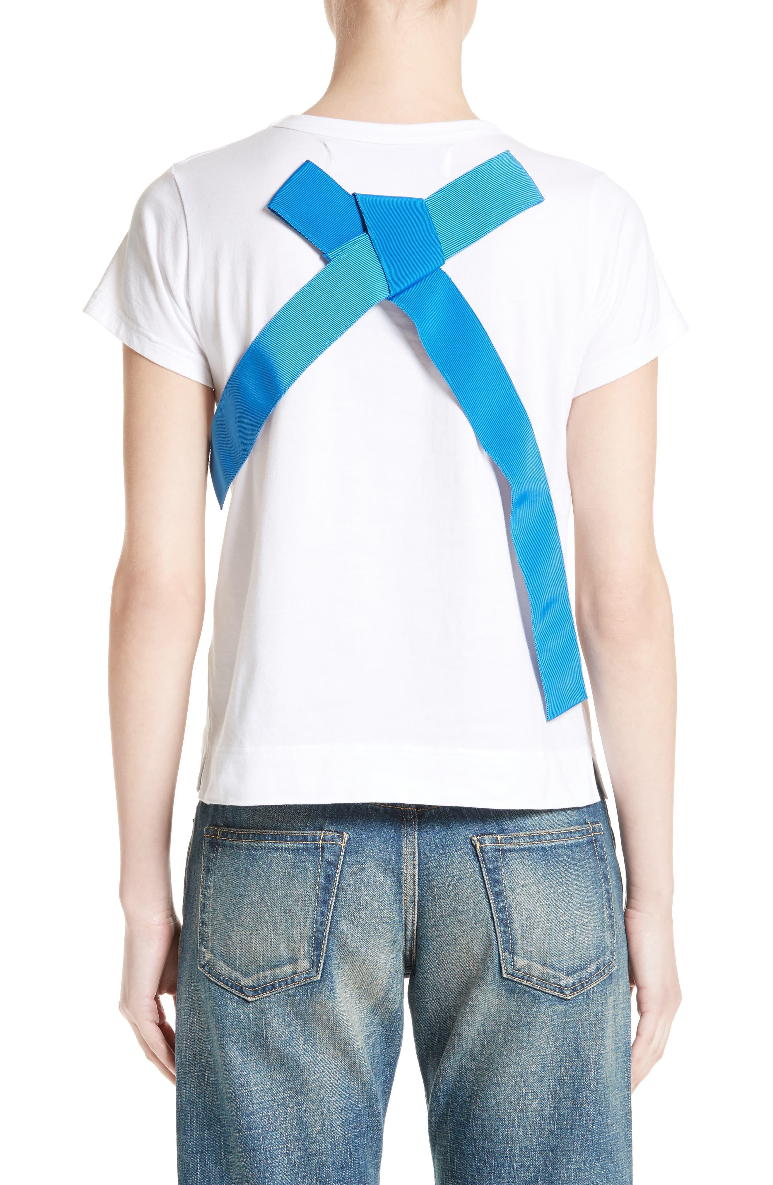 Ribbon Back Tee,                             Alternate thumbnail 2, color,                             White/Blue