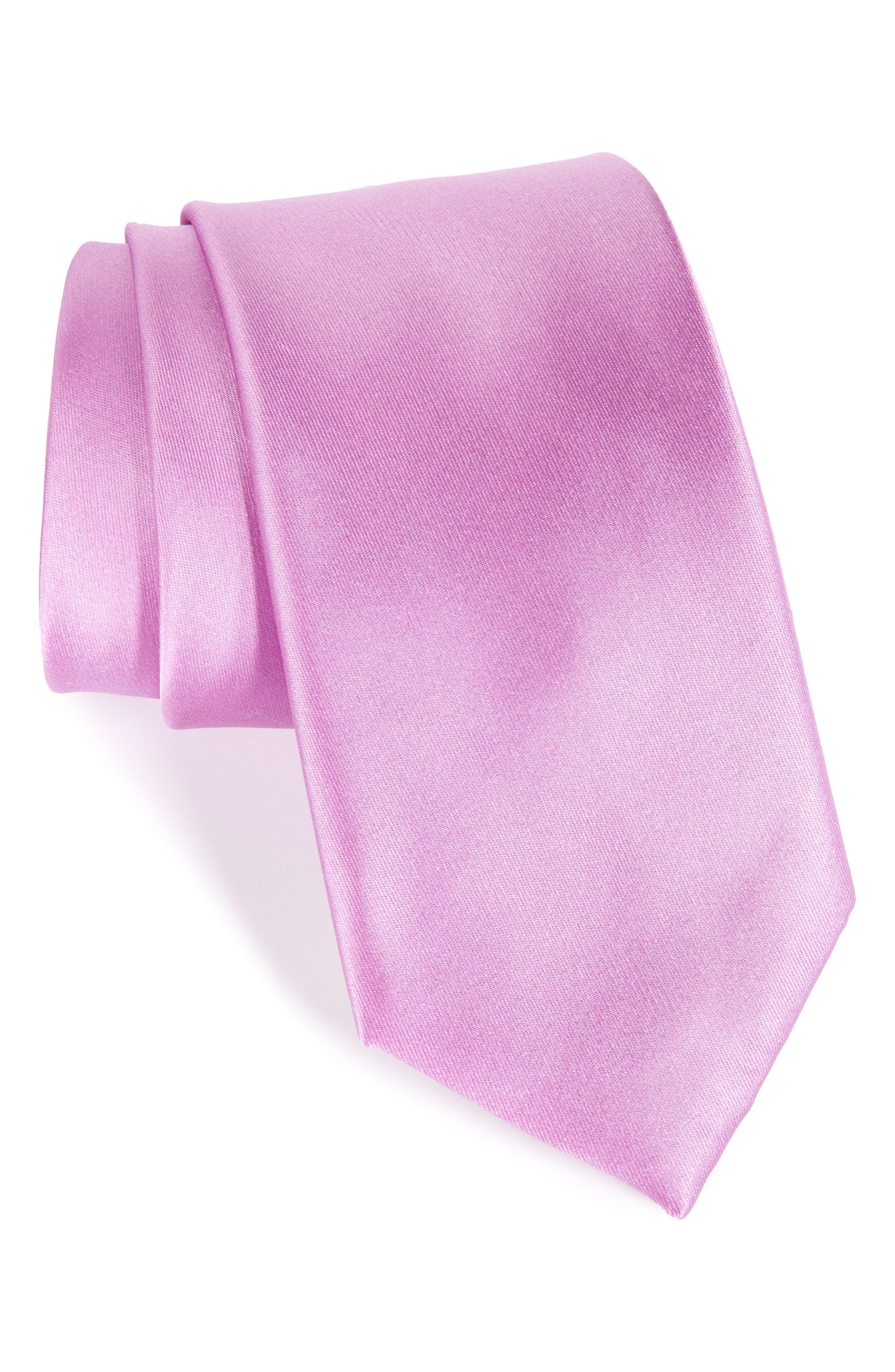 Main Image - Nordstrom Men's Shop Solid Satin Silk Tie (X-Long)