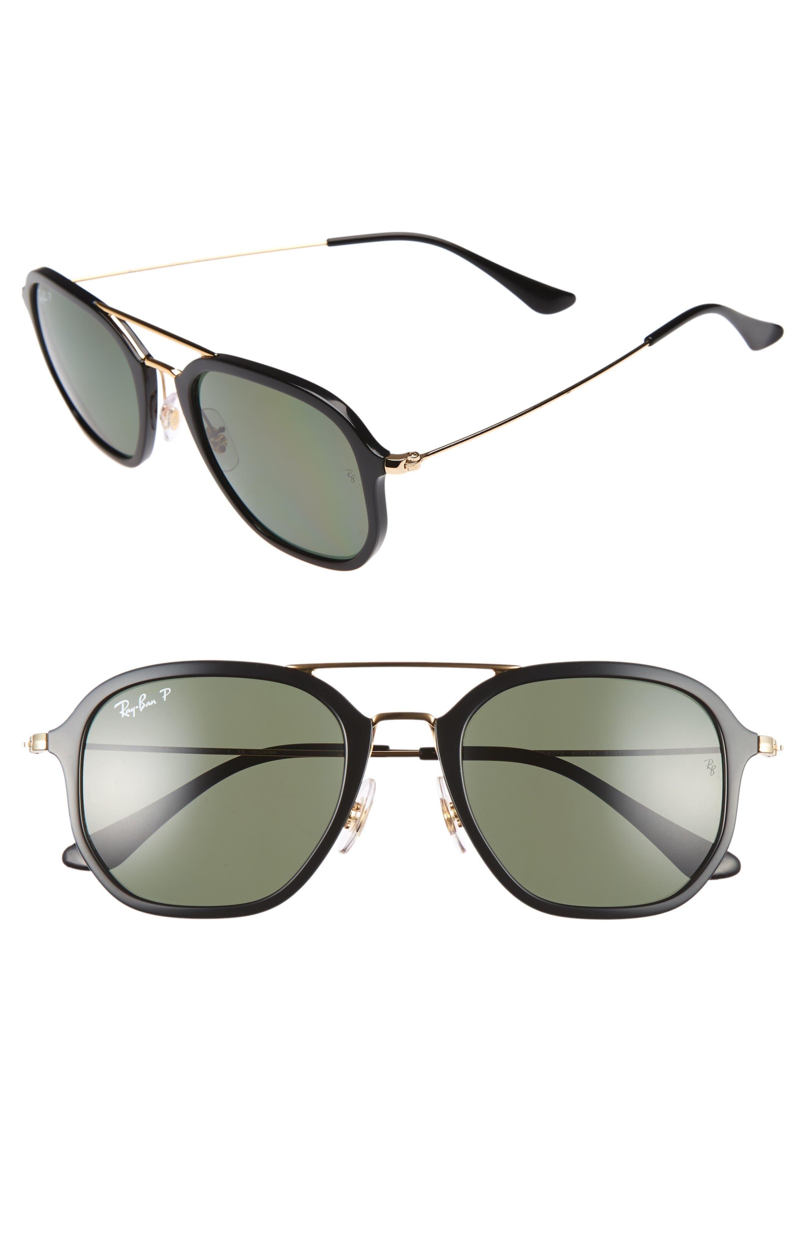Ray-Ban Highstreet 52mm Polarized Aviator Sunglasses
