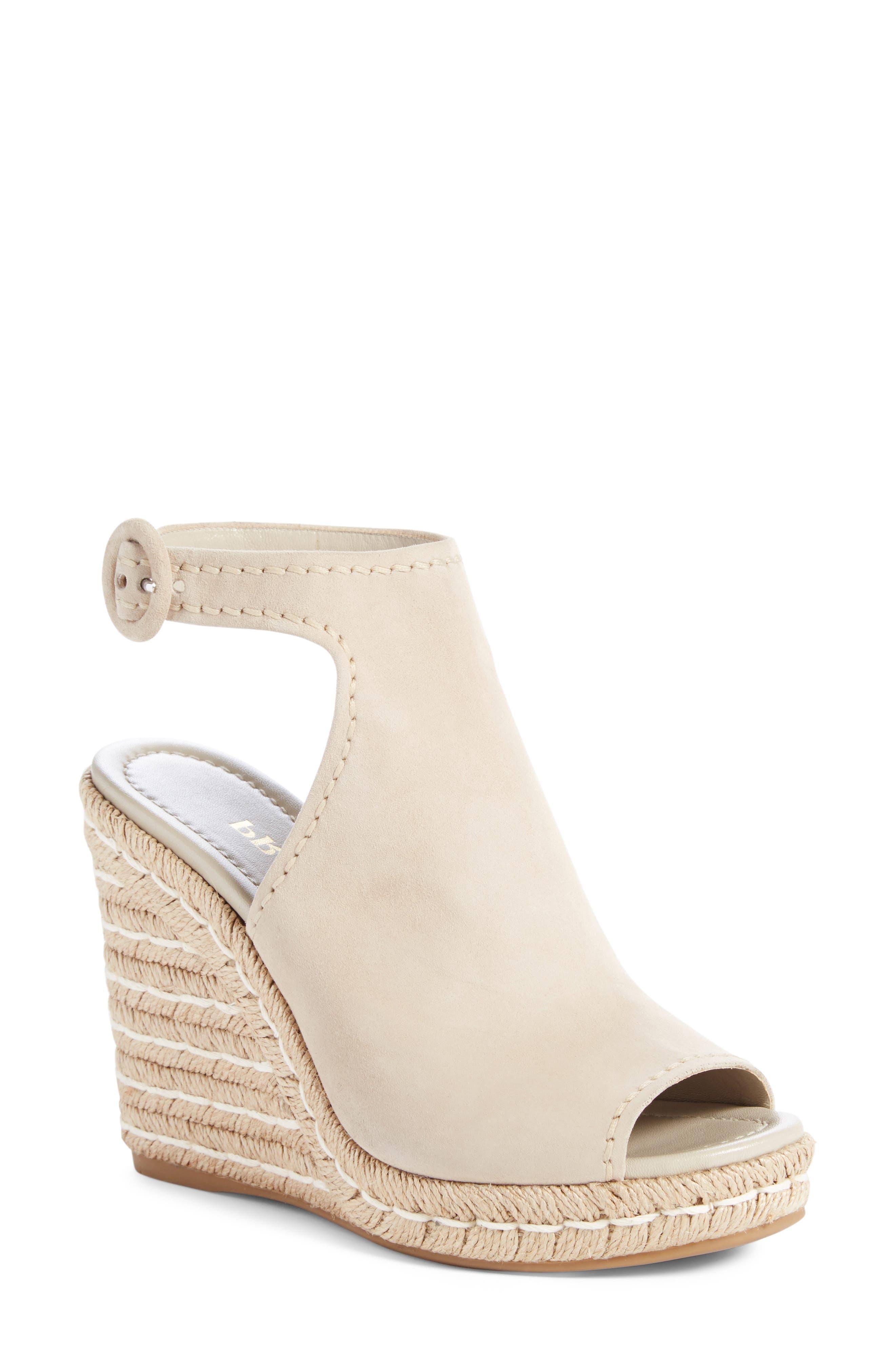 Ankle Strap Espadrille Wedge Sandal,                             Main thumbnail 1, color,                             Beige