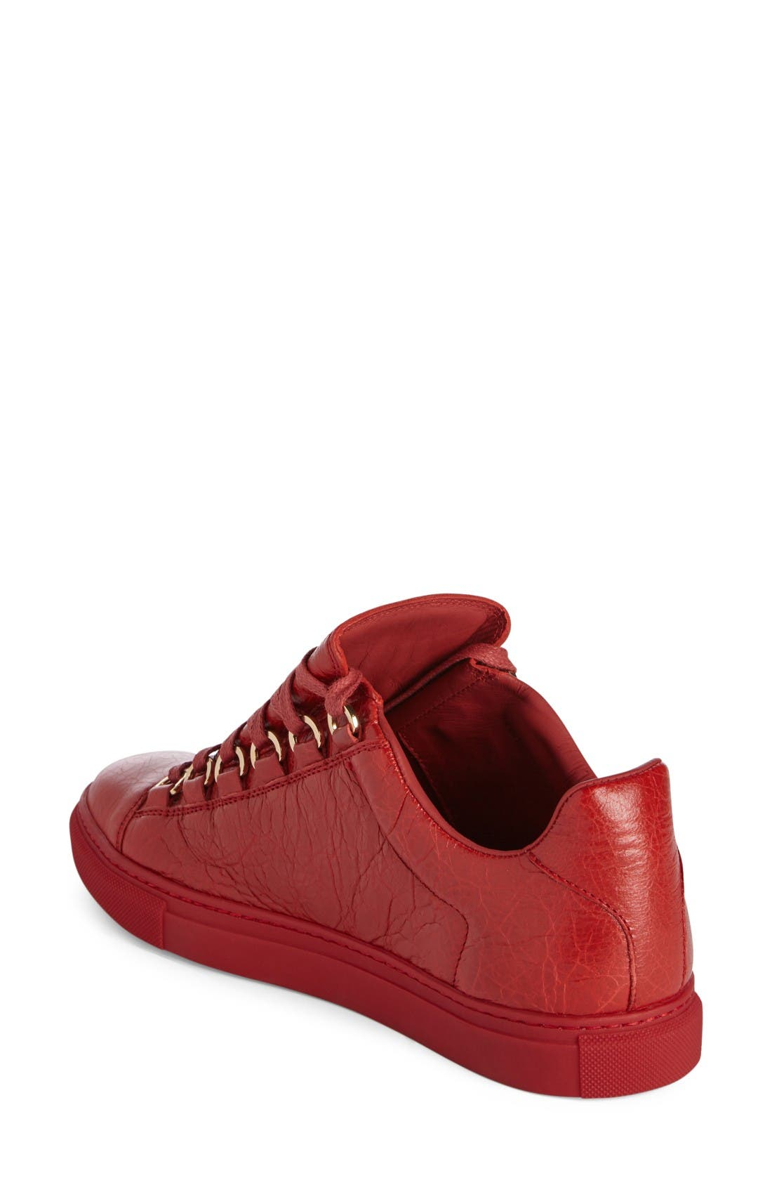 Low Top Sneaker,                             Alternate thumbnail 2, color,                             Red Leather