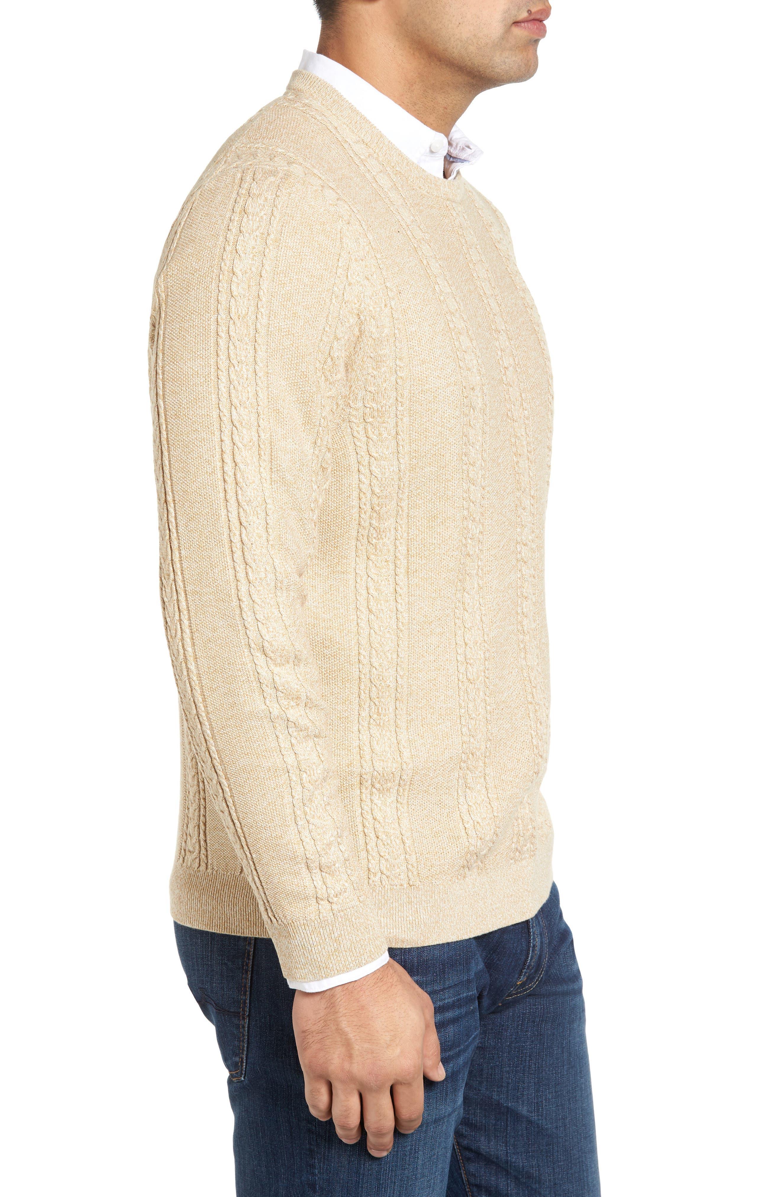 Marled Silk Blend Sweater,                             Alternate thumbnail 3, color,                             Golden Honey