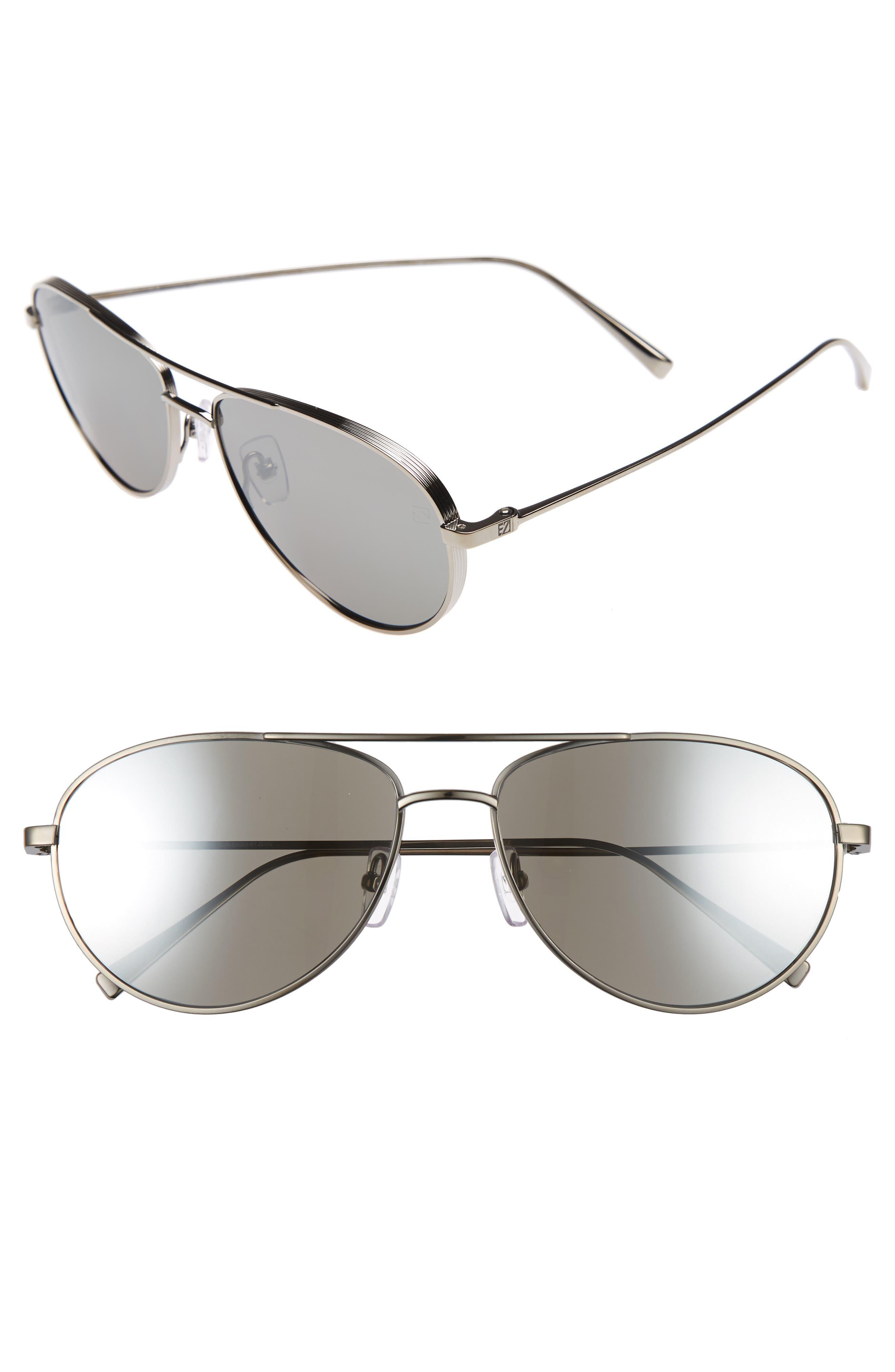 ERMENEGILDO ZEGNA 59mm Aviator Sunglasses