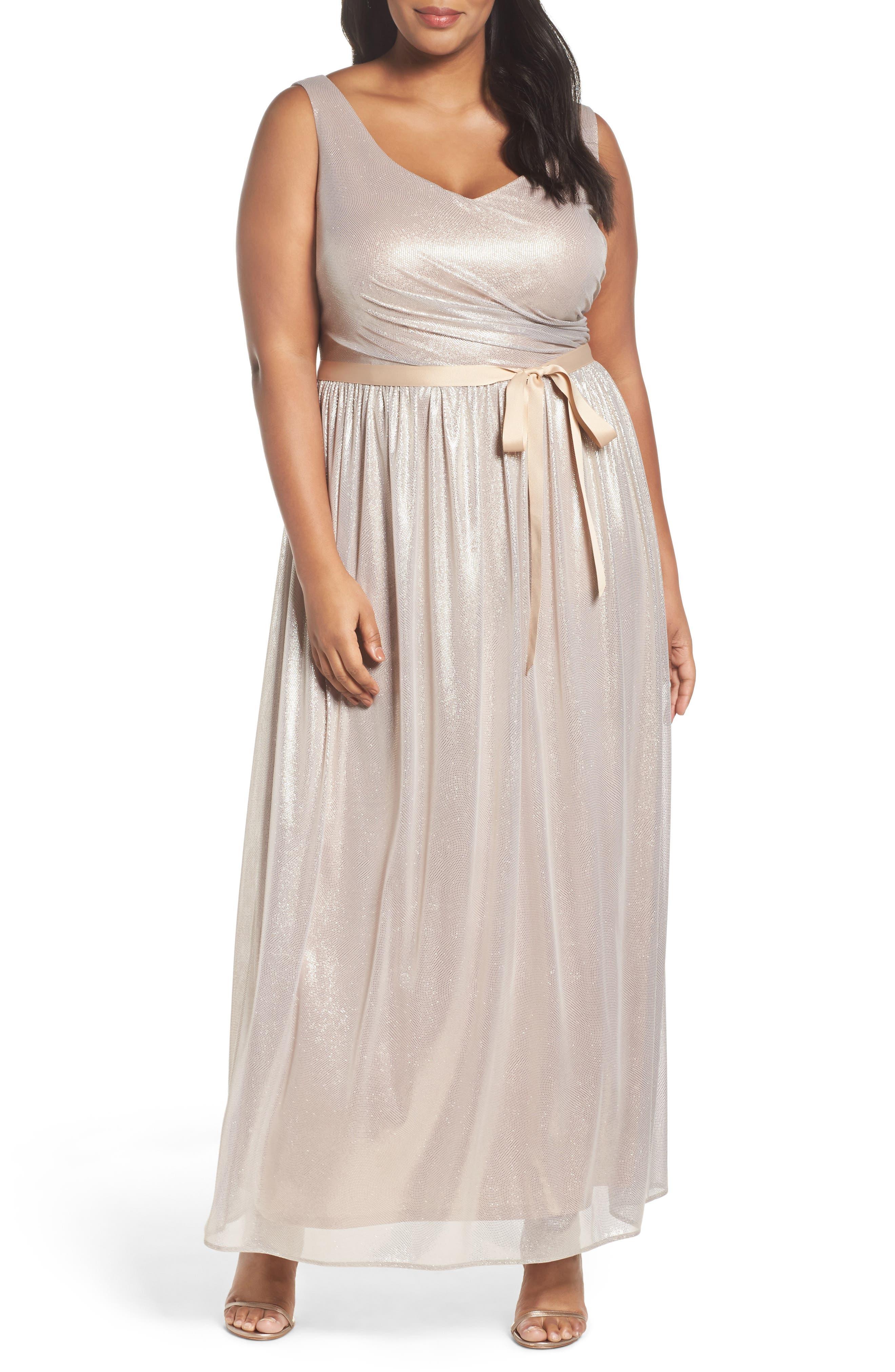 Main Image - Marina Metallic Gown (Plus Size)