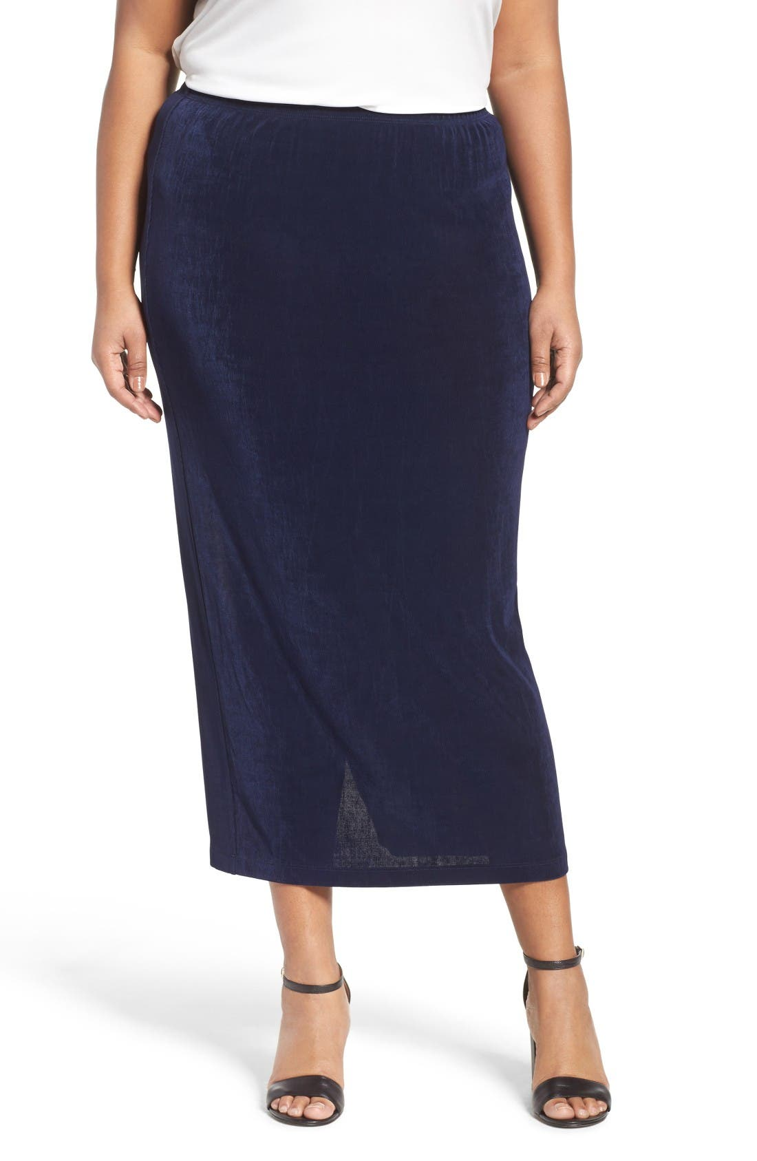 Stretch Knit Straight Maxi Skirt,                             Main thumbnail 1, color,                             Navy