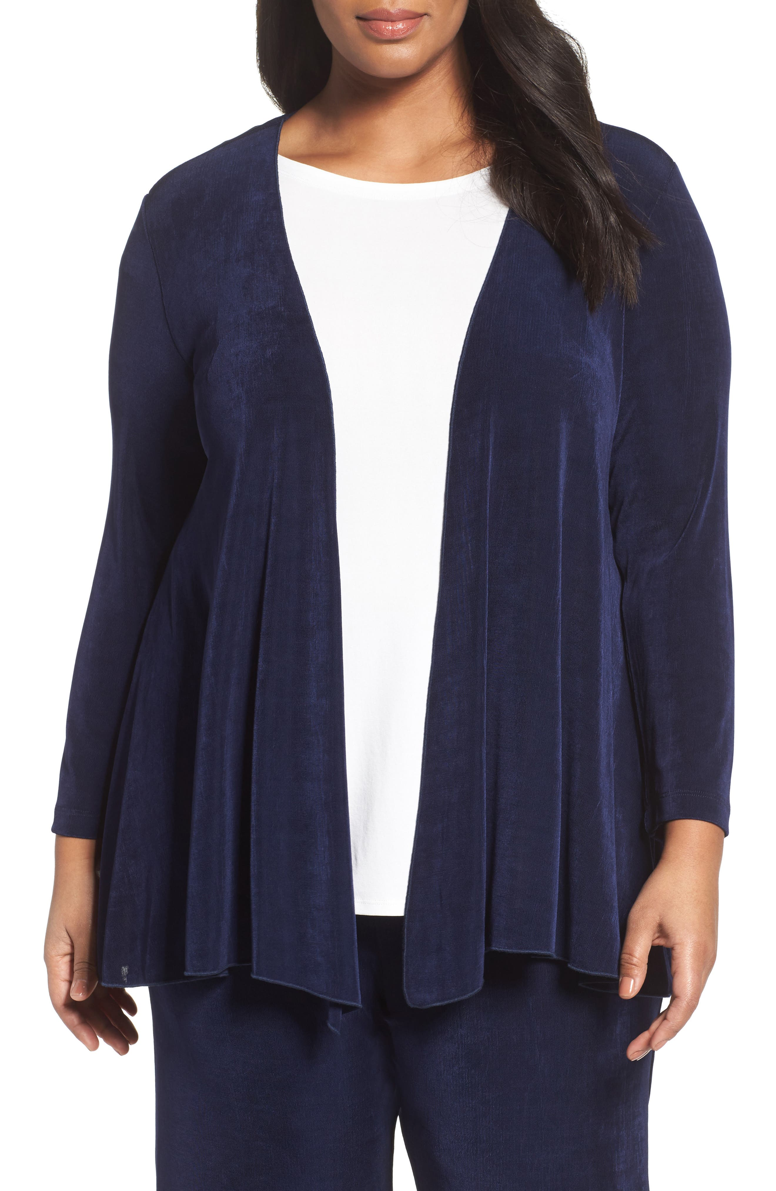 Main Image - Vikki Vi Open Front Swing Cardigan (Plus Size)