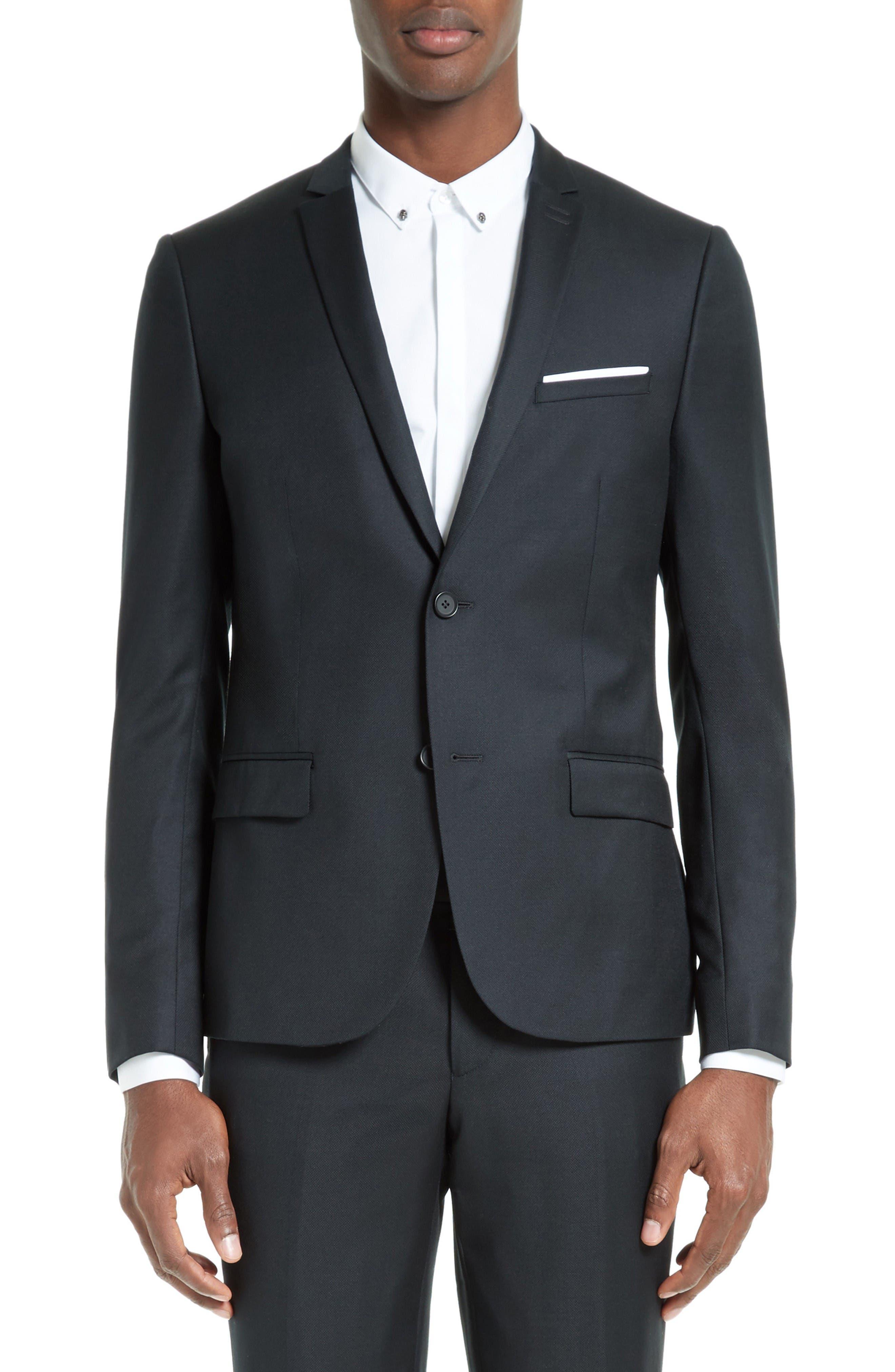 Wool Piqué Sport Coat,                         Main,                         color, Black