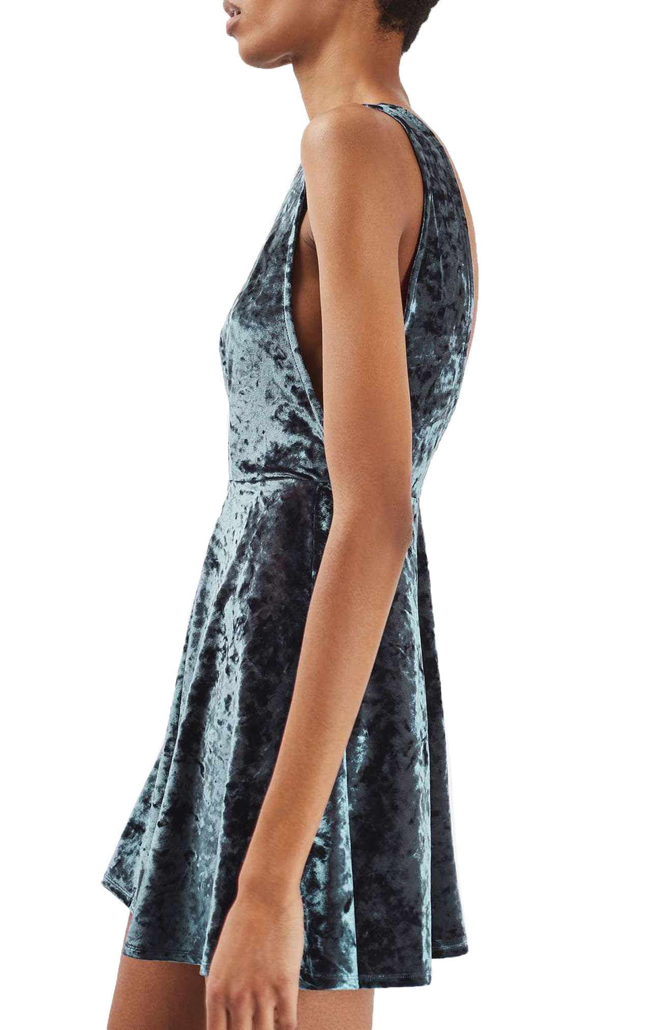 Low Back Velvet Dress,                             Alternate thumbnail 4, color,                             Grey