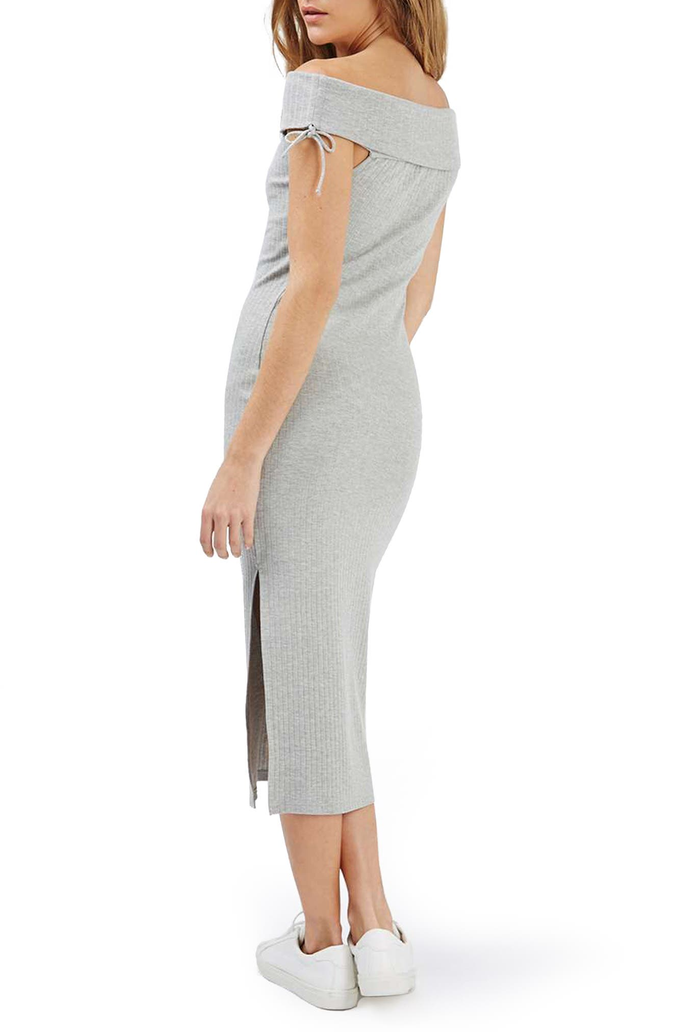 Alternate Image 2  - Topshop Bardot Ribbed Midi Dress