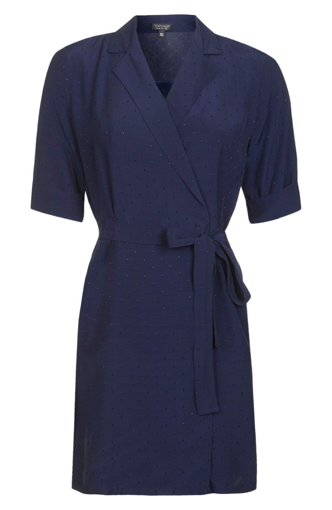 Alternate Image 4  - Topshop Dot Jacquard Wrap Dress