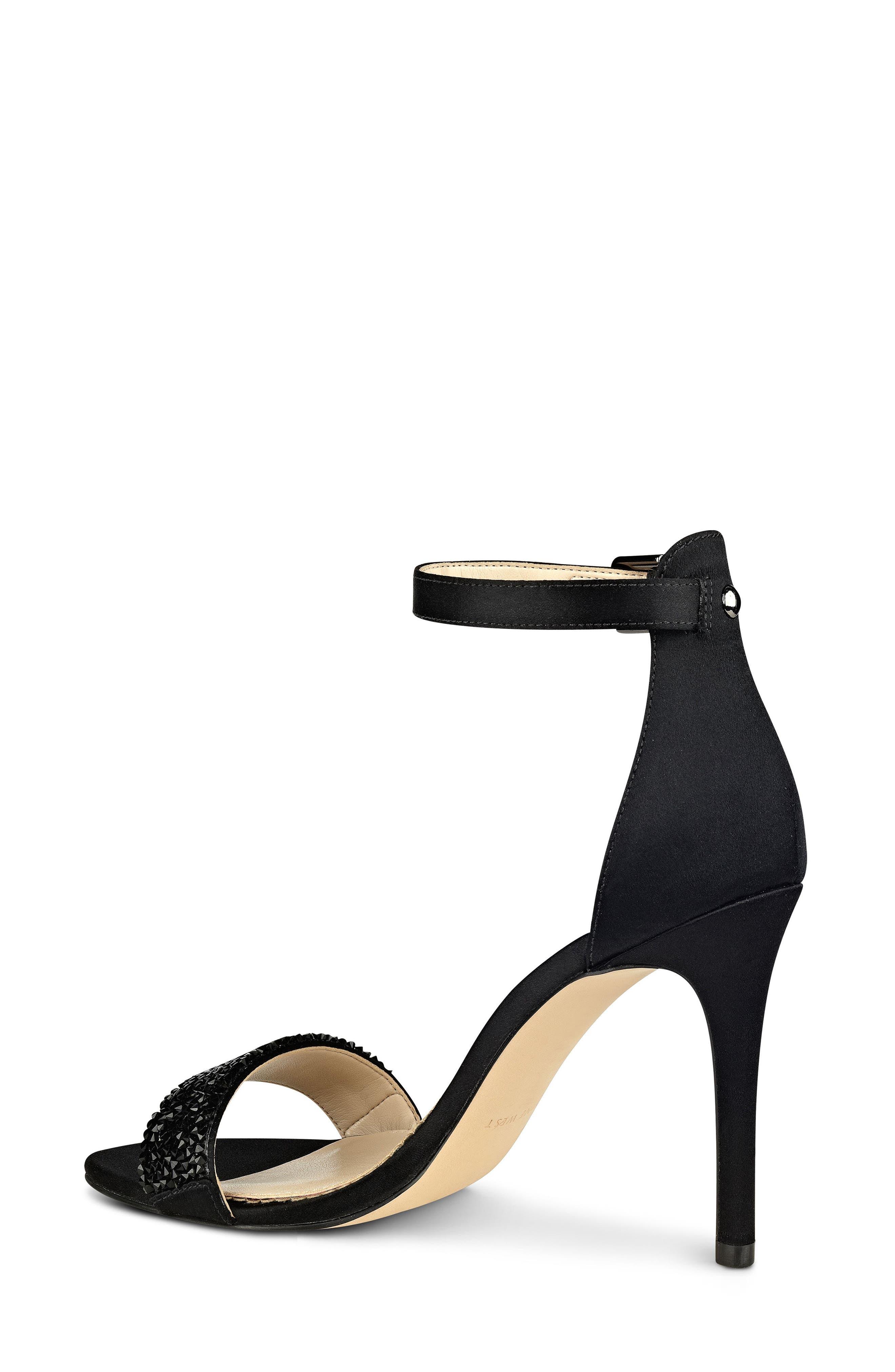 'Mana' Ankle Strap Sandal,                             Alternate thumbnail 2, color,                             Black Satin