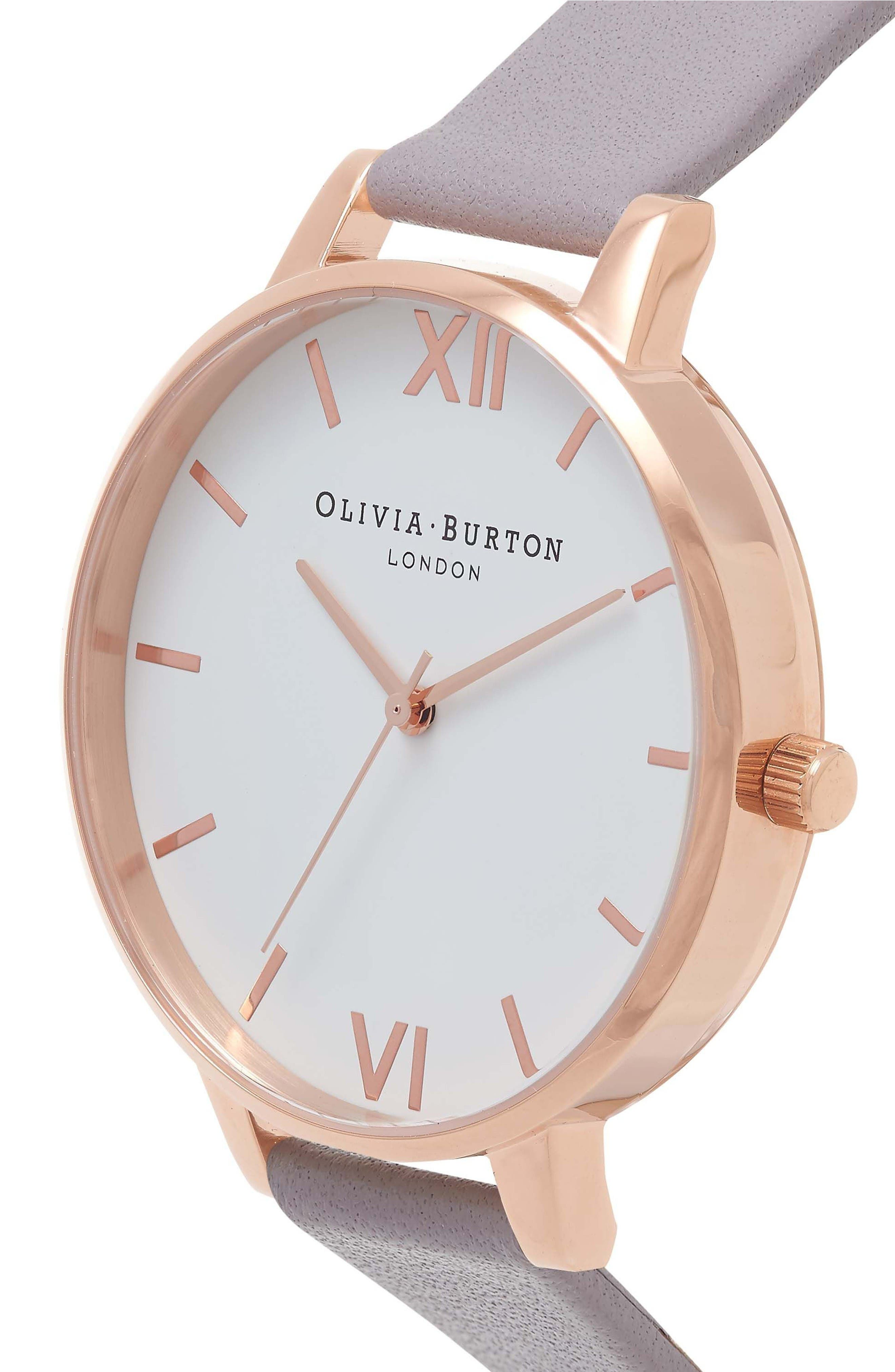 Alternate Image 3  - Olivia Burton Big Dial Leather Strap Watch, 38mm