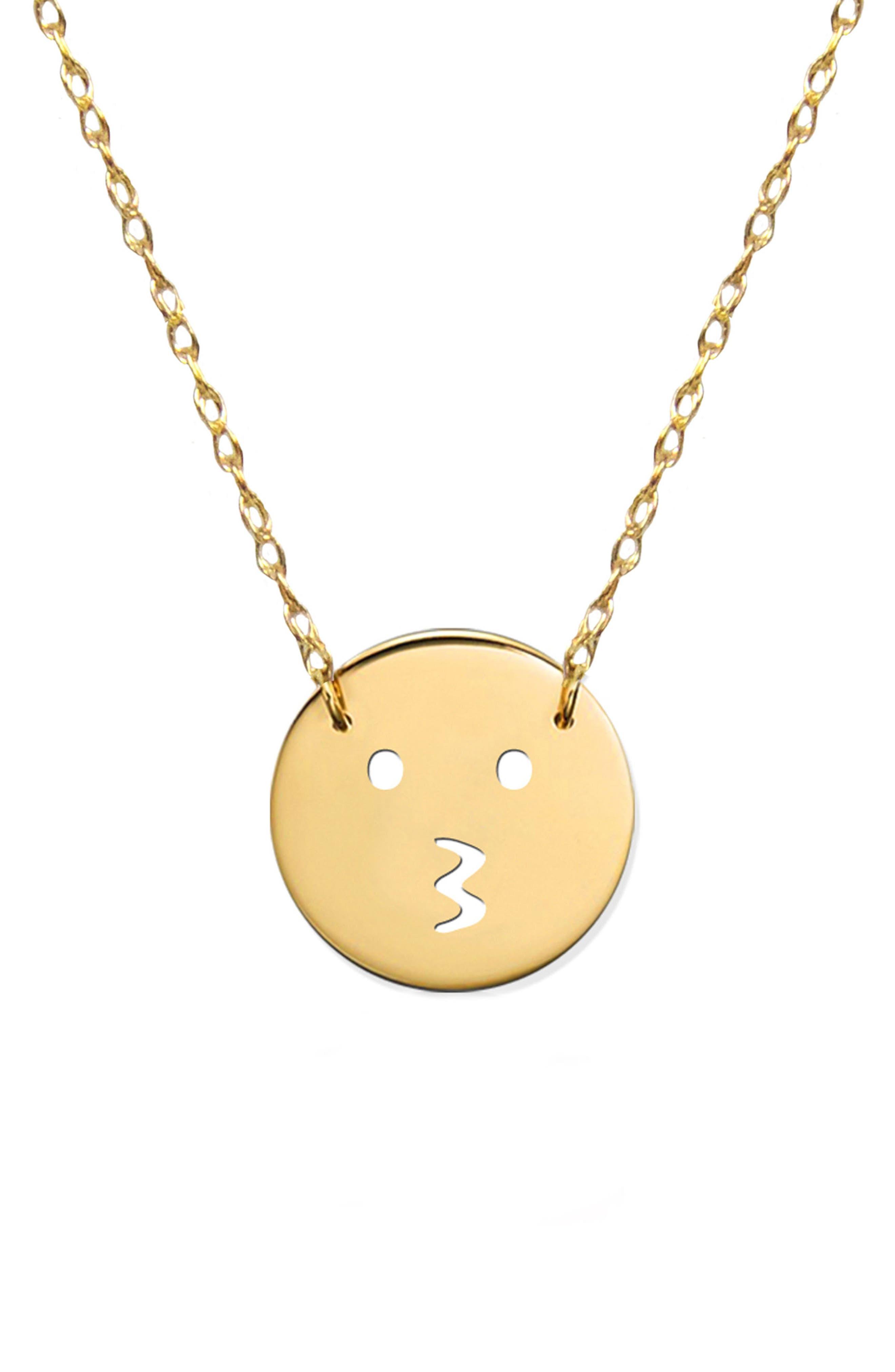 Kiss Emoji Pendant Necklace,                         Main,                         color, Yellow Gold