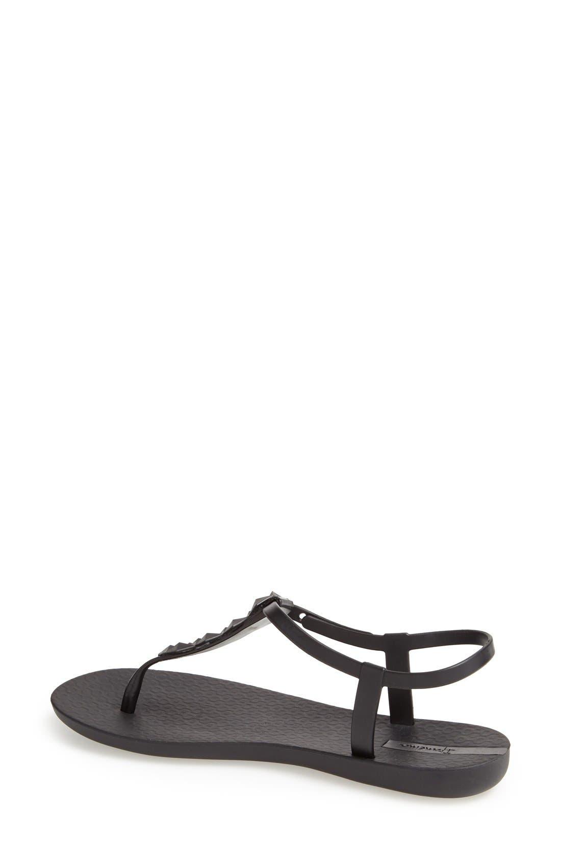 'Cleo' Pyramid Stud Ankle Strap Flip Flop,                             Alternate thumbnail 2, color,                             Black