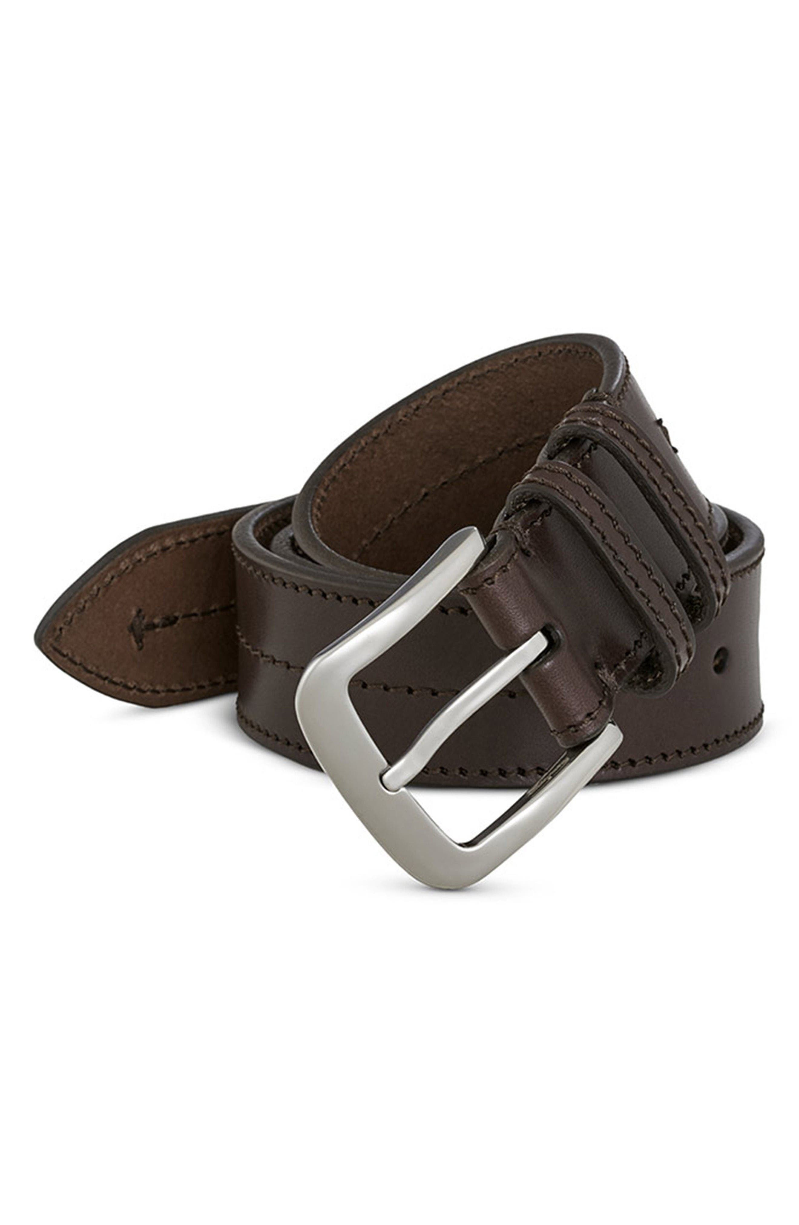 Leather Belt,                             Alternate thumbnail 3, color,                             Deep Brown