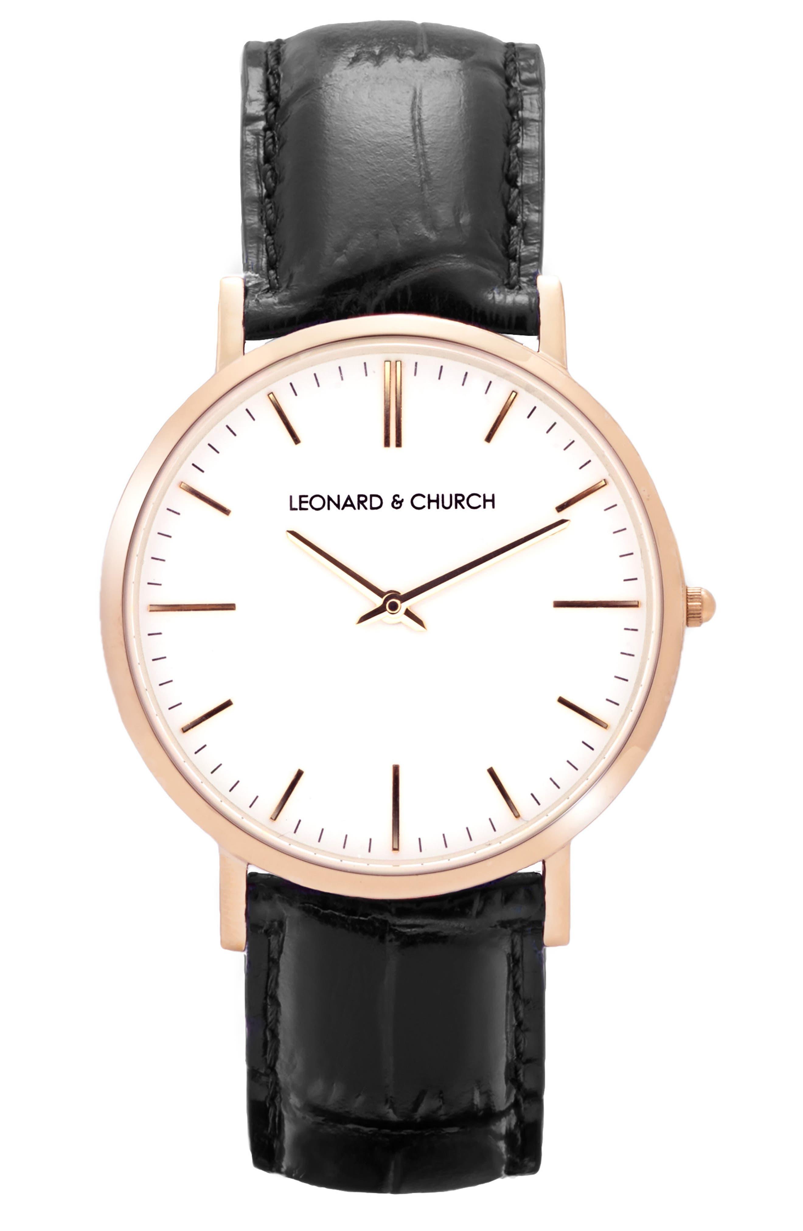 LEONARD AND CHURCH Leonard & Church Broadway Leather Strap Watch, 40mm